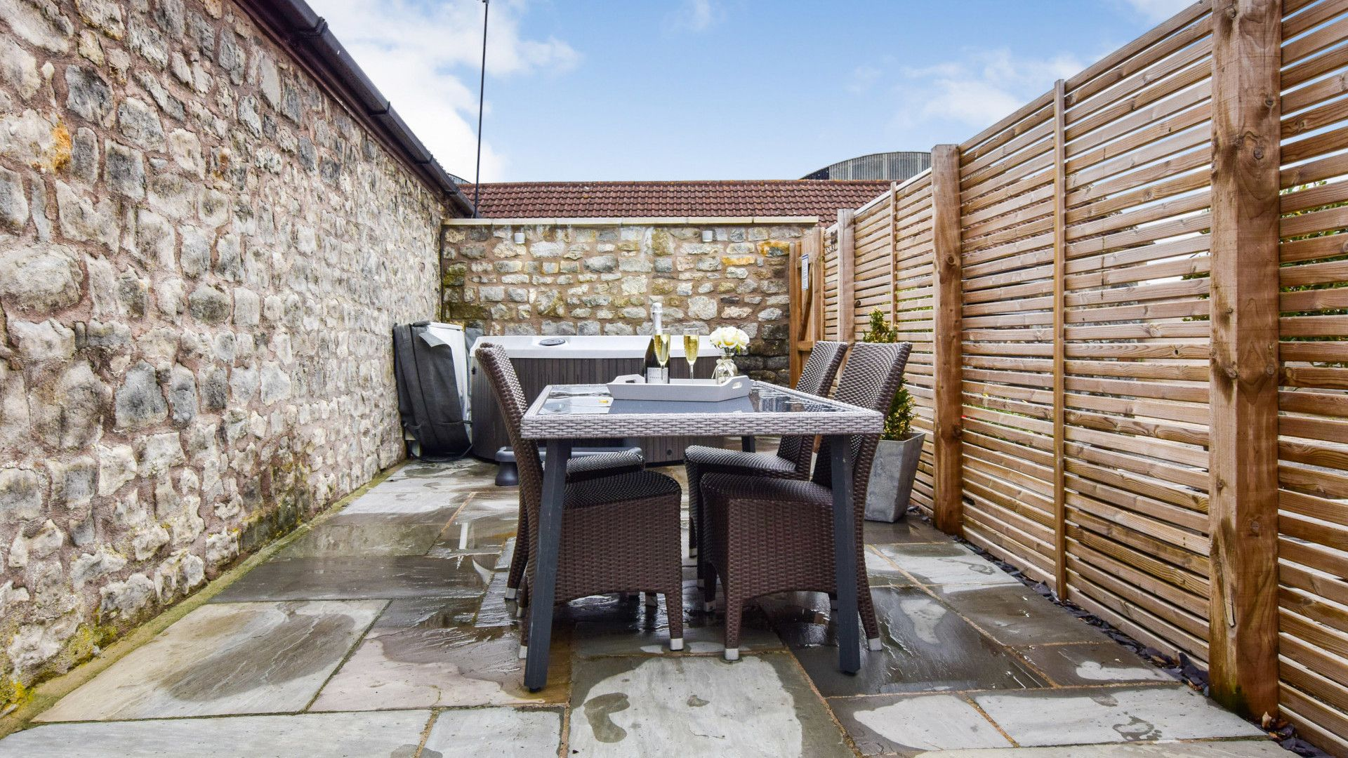 Patio with hot tub, Dovecote at Avon Farm, Bolthole Retreats