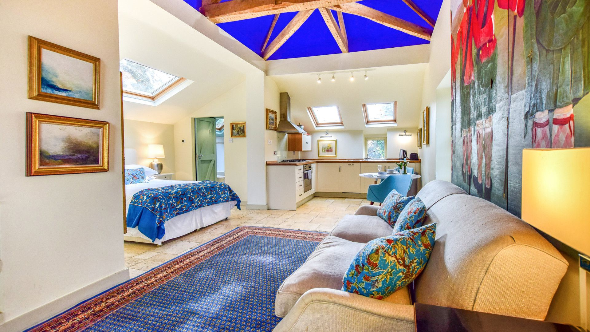 Open plan, kitchen, living, dining, sleeping, Matara Lodge, Bolthole Retreats