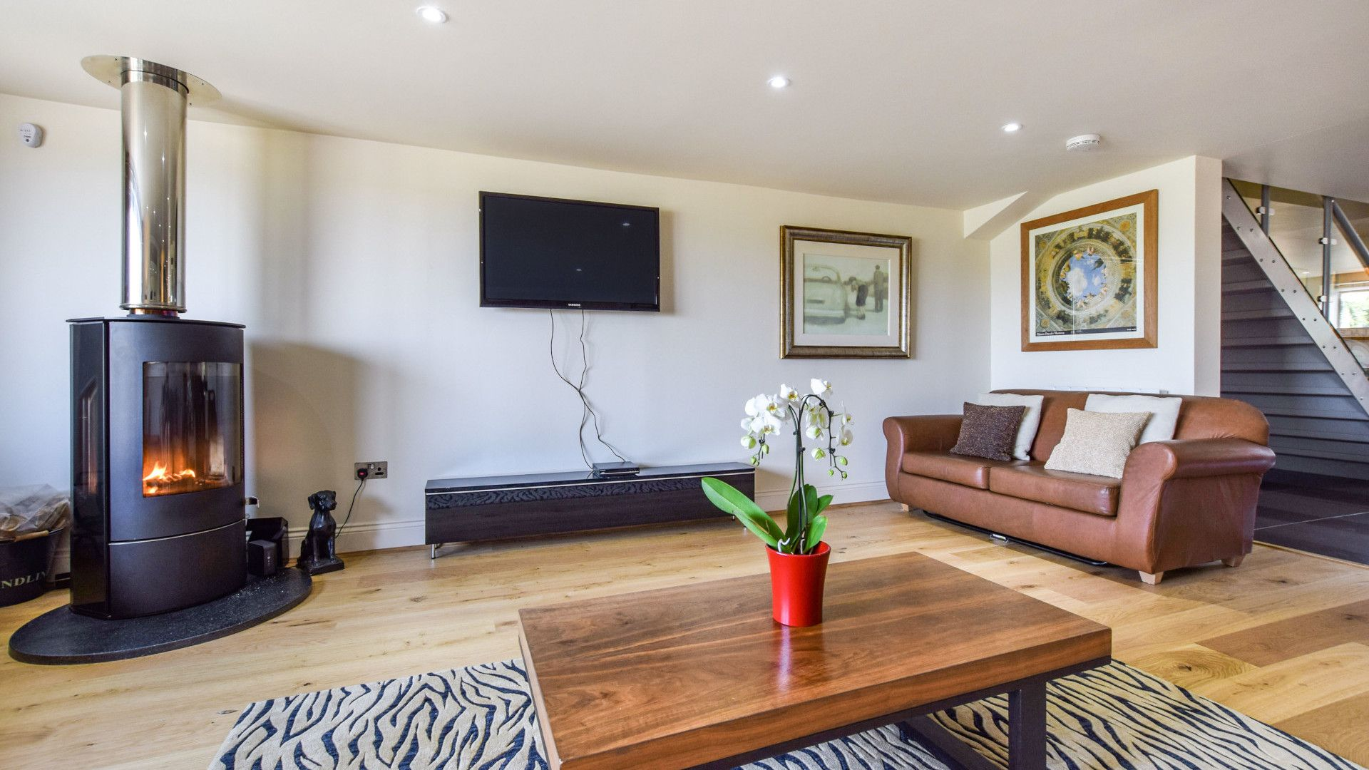 Living room with log burner, Meadow View at Avon Farm, Bolthole Retreats