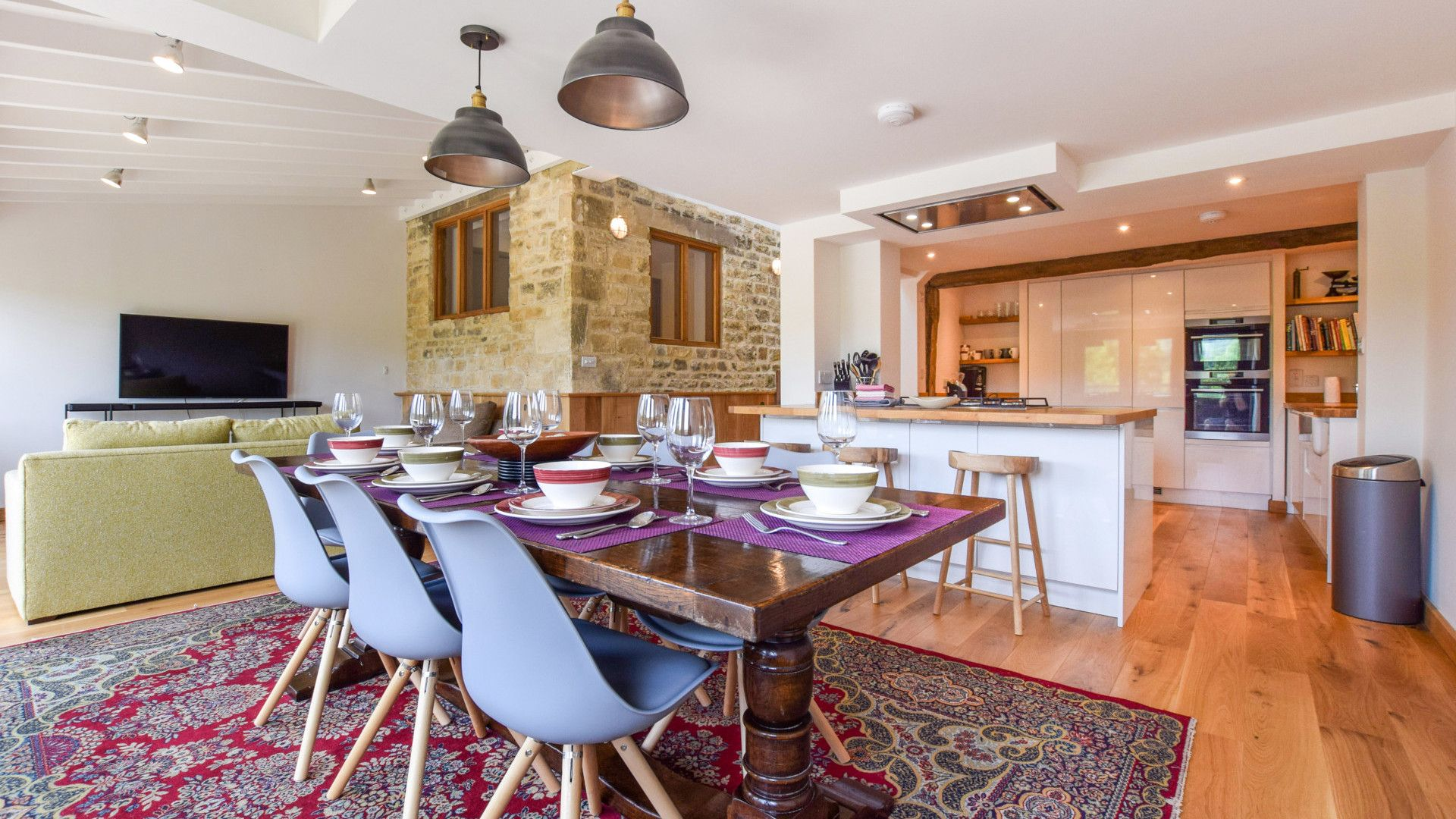 Open plan kitchen, dining living area, Mercia House, Bolthole Retreats