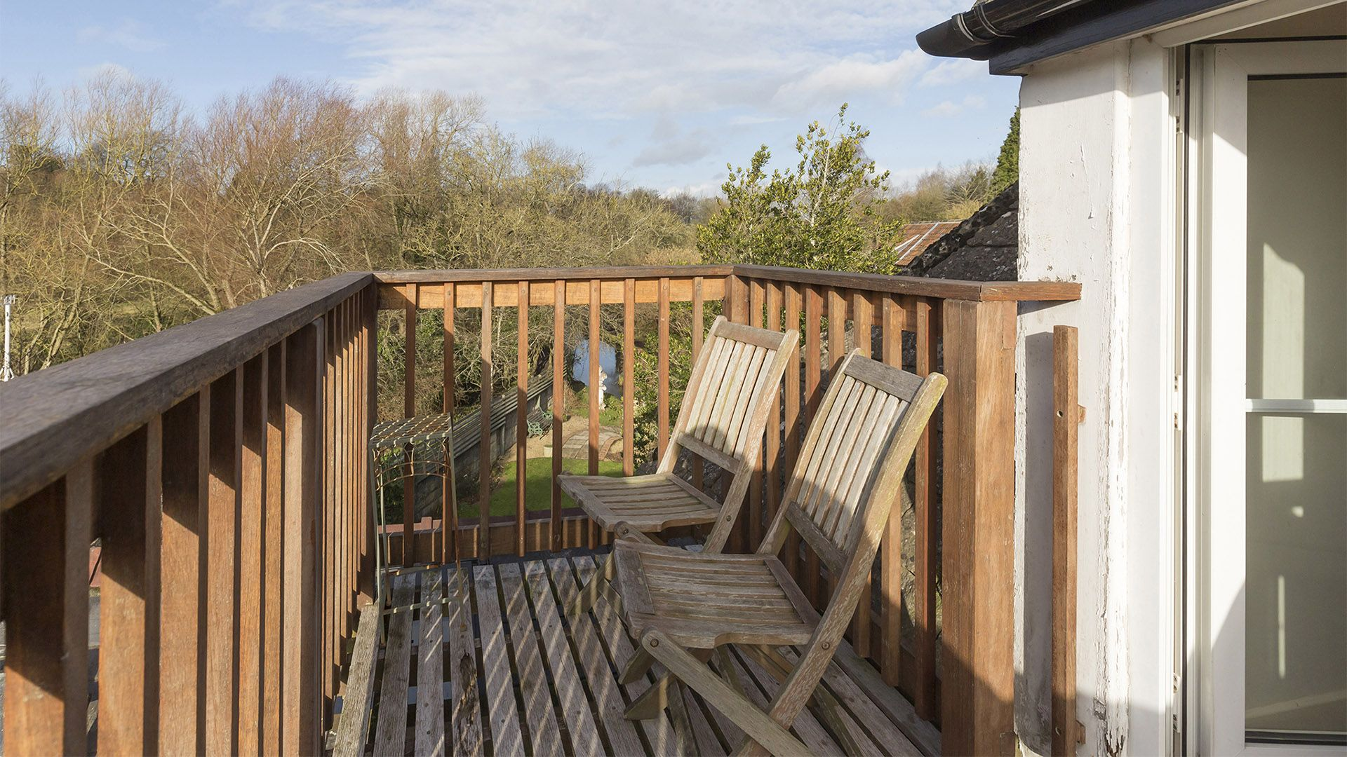 The balcony with views over the River Avon, The Leat at Wynard Mill, Bolthole Retreats