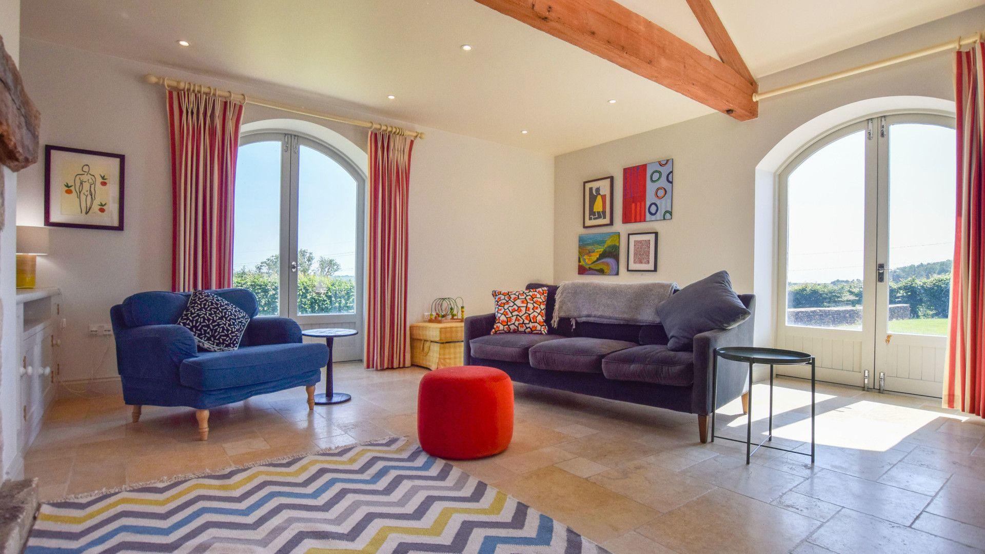 Living room with log burner, Oldbury Barn, Bolthole Retreats