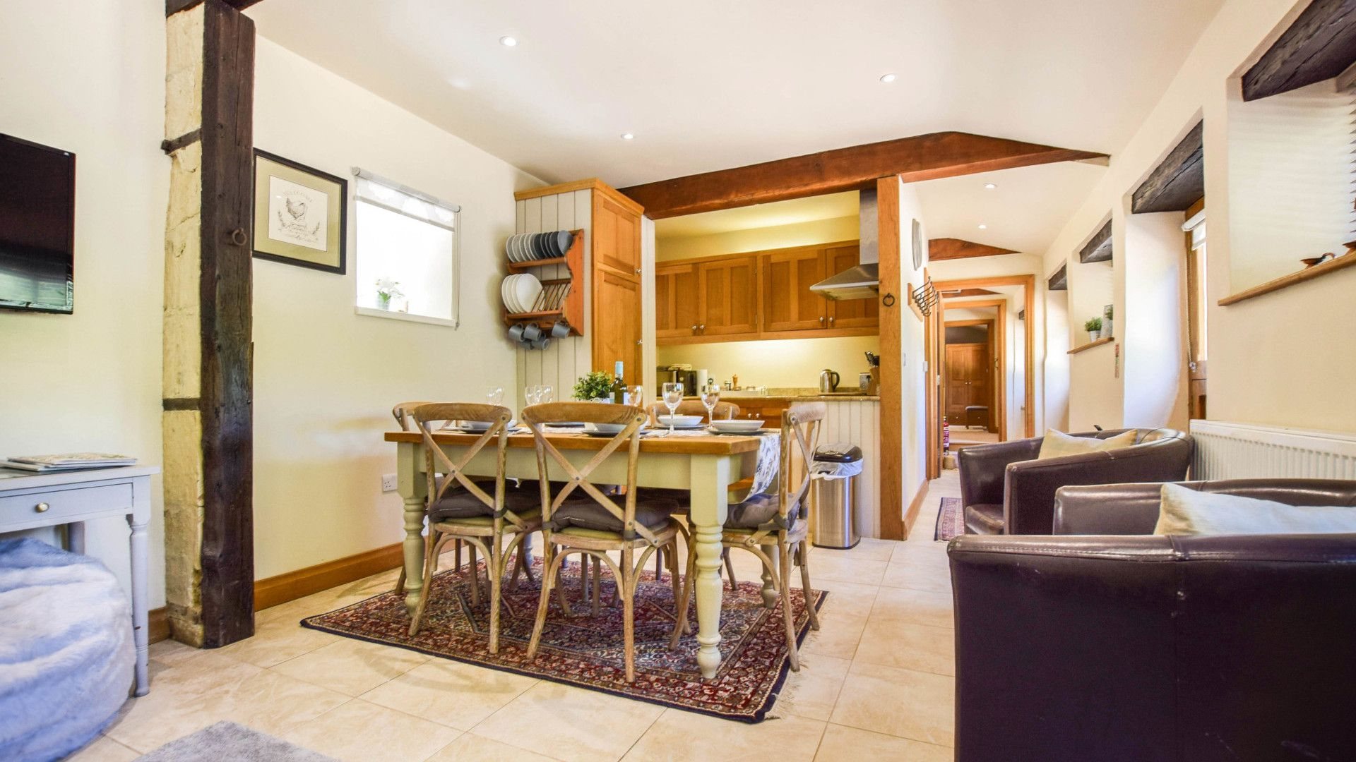 Kitchen, living and dining areas, Stable Cottage, Bolthole Retreats
