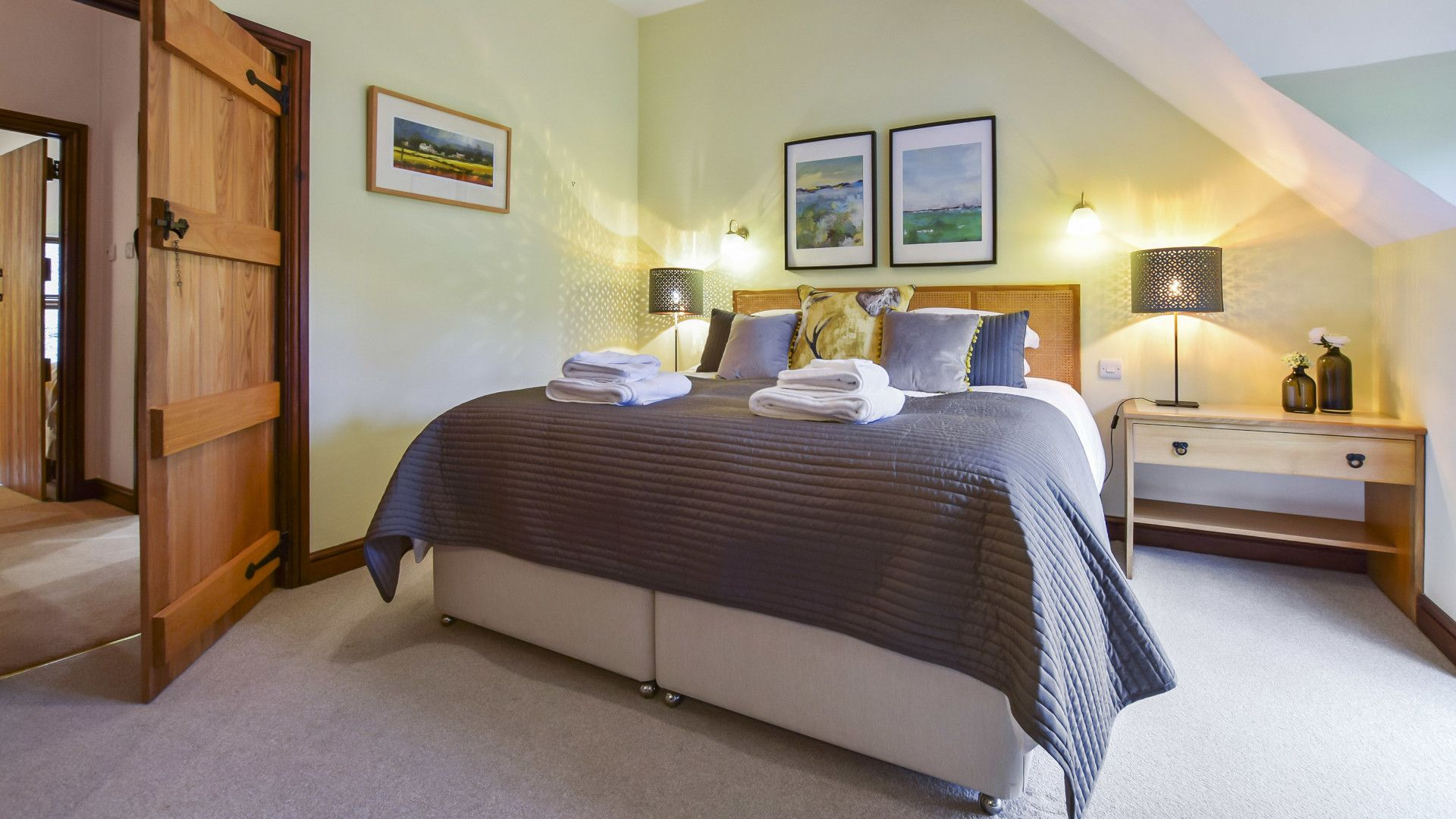 Bedroom 1 with super-king bed, Stepping Stones, Bolthole Retreats