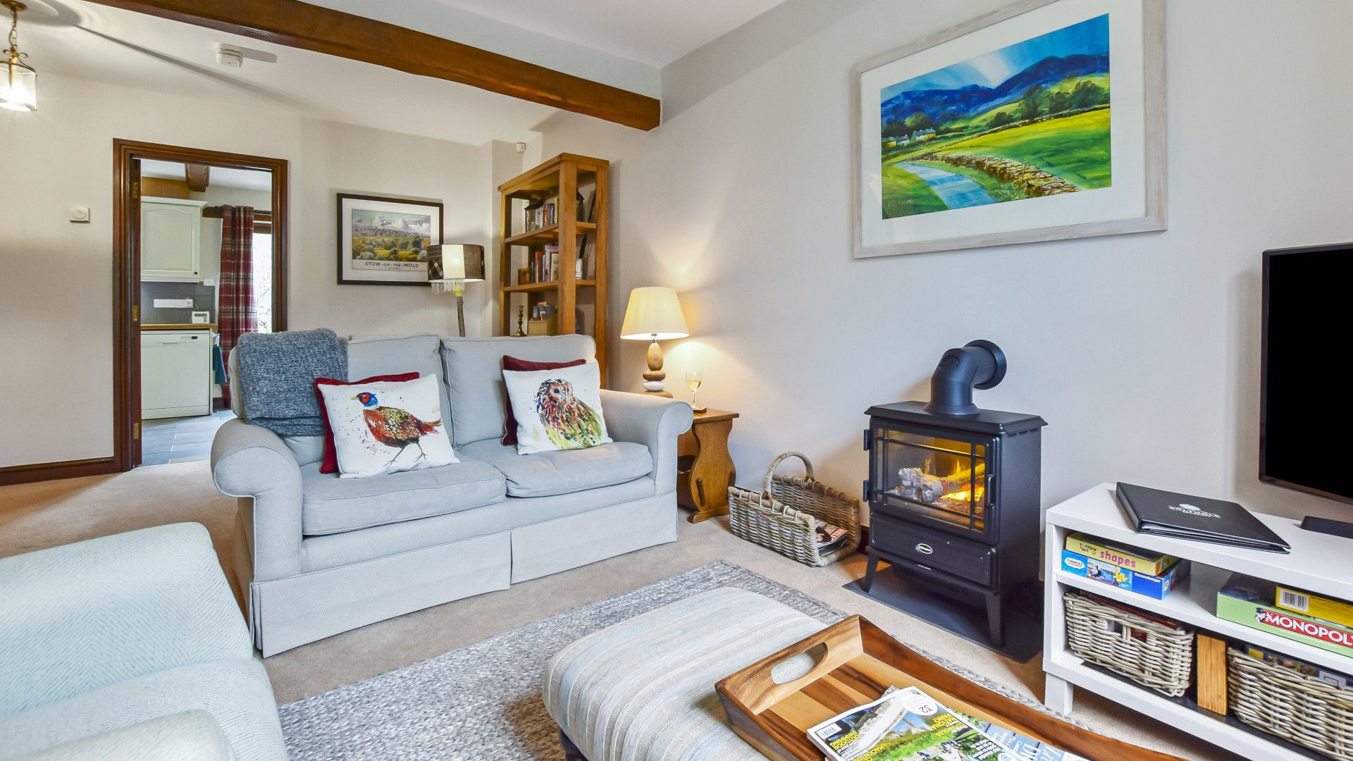 Living room with wood effect fire, Stepping Stones, Bolthole Retreats
