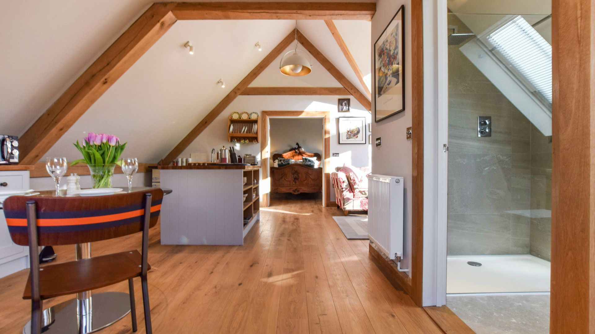 Open plan kitchen, dining and living areas, Sycamore, Bolthole Retreats
