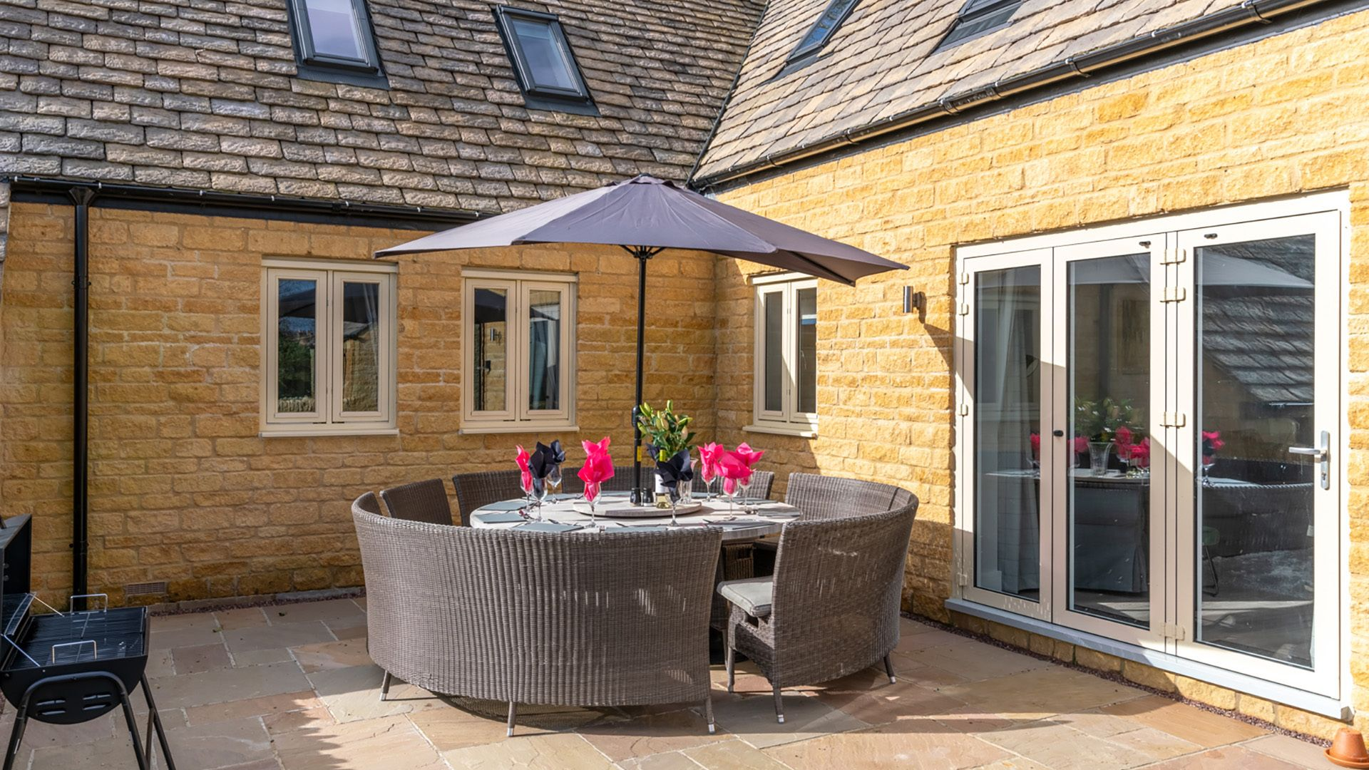 Patio area with seating,  Maple House, Bolthole Retreats