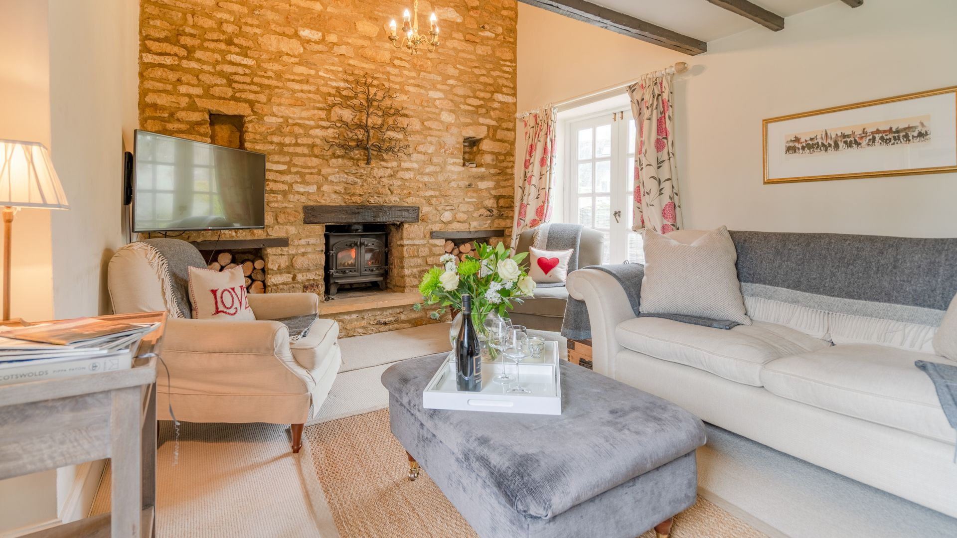 Living room with wood burner, Woodbine Cottage Bolthole Retreats