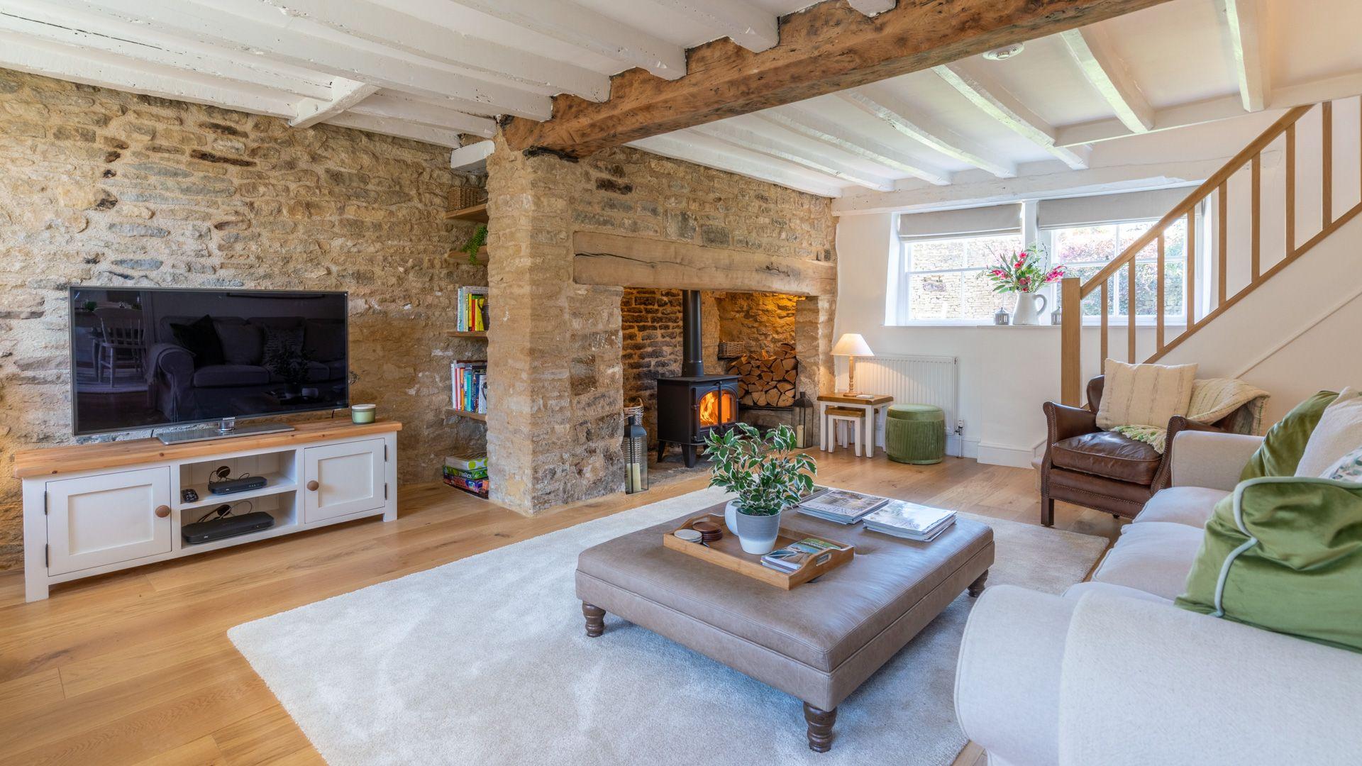 Living room with log burner, Tachbrook, Bolthole Retreats