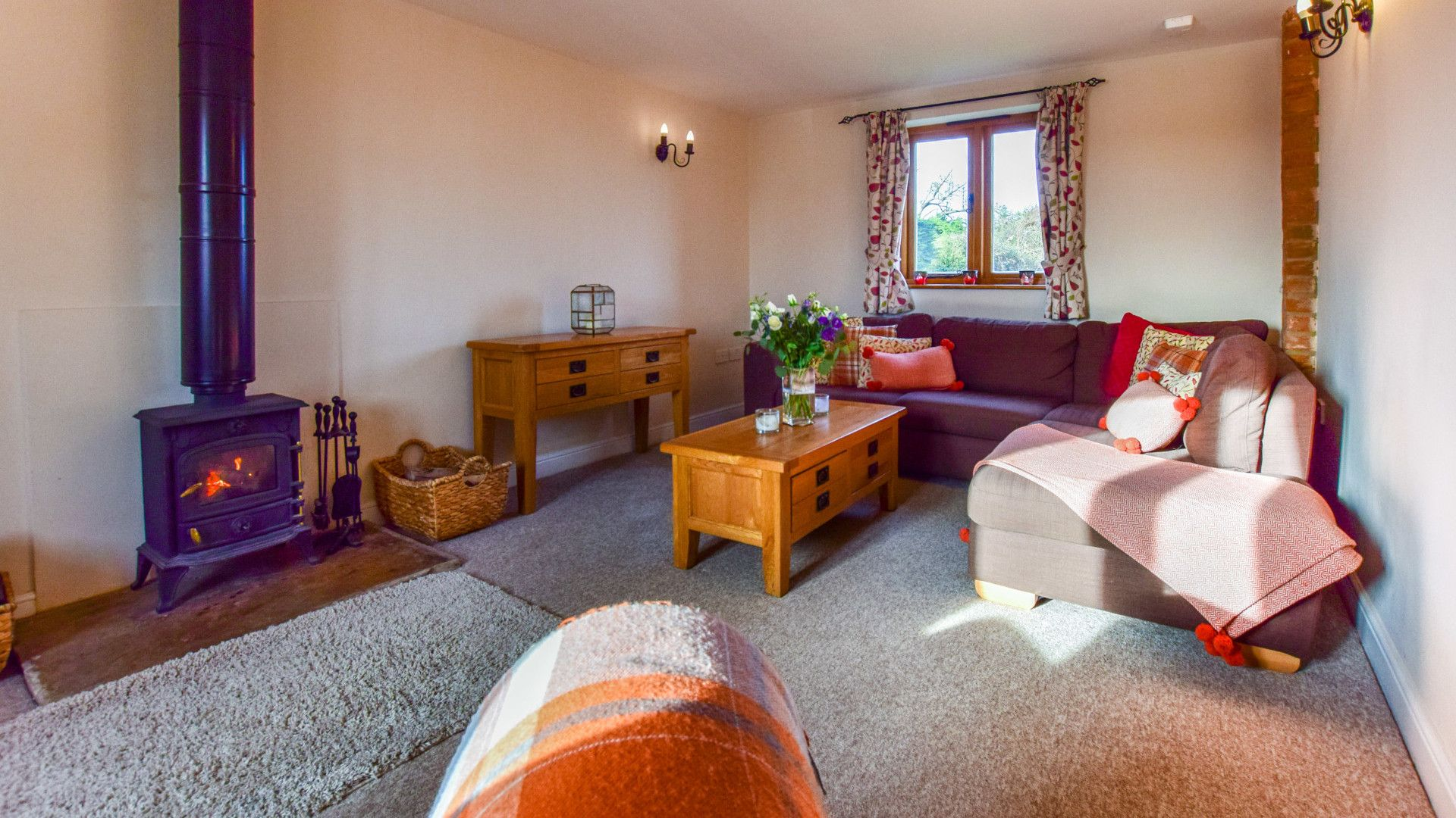 Living room with log burner,  Granary, Bolthole Retreats