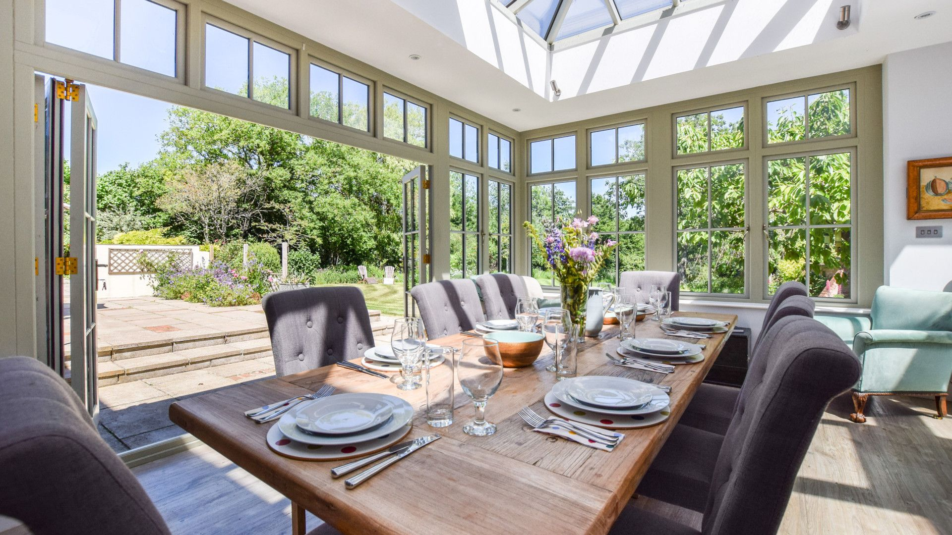 Dining area by patio doors, Old Manse, Bolthole Retreats
