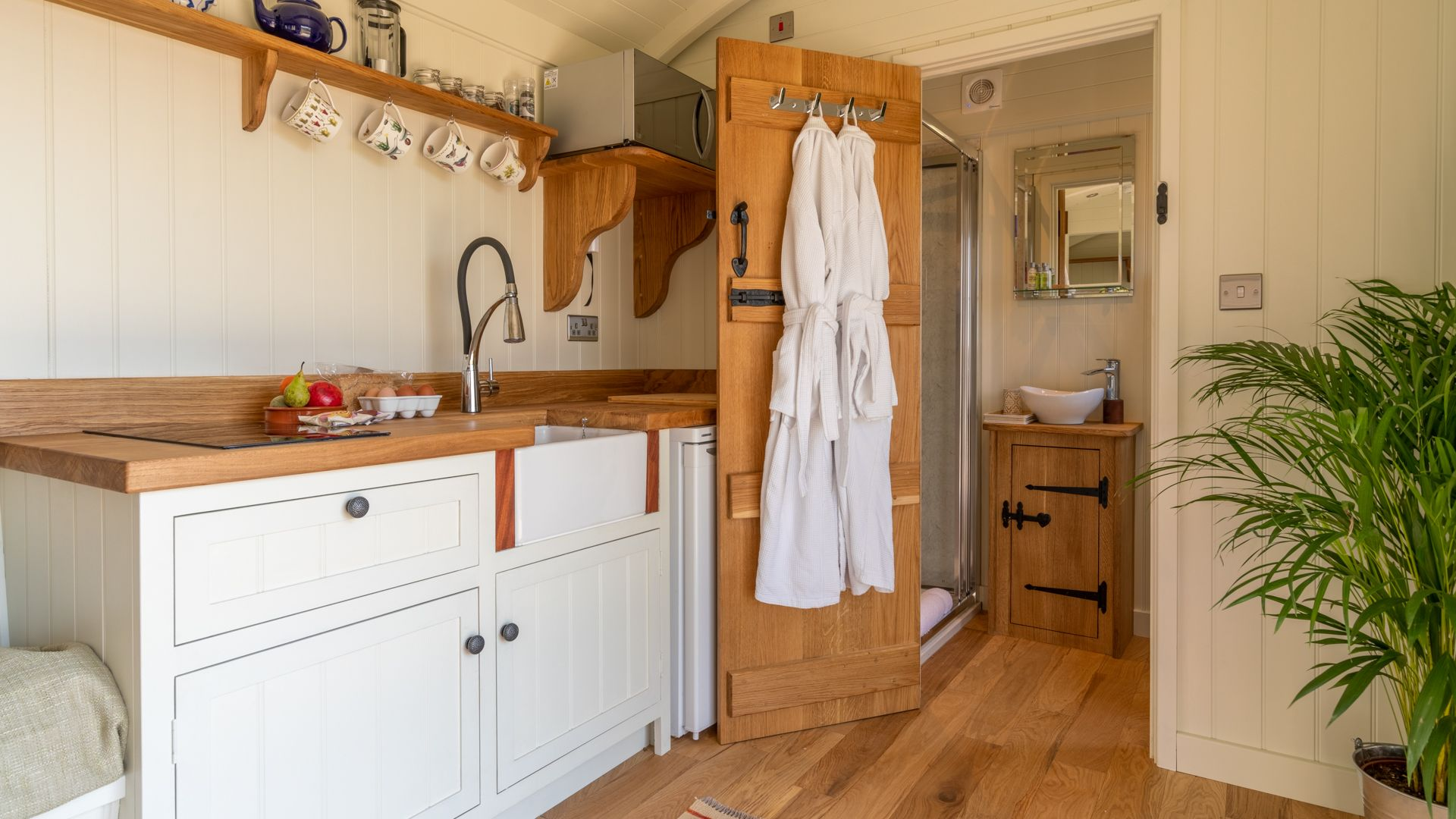 Kitchenette, shower room, Tudor Oak, Bolthole Retreats