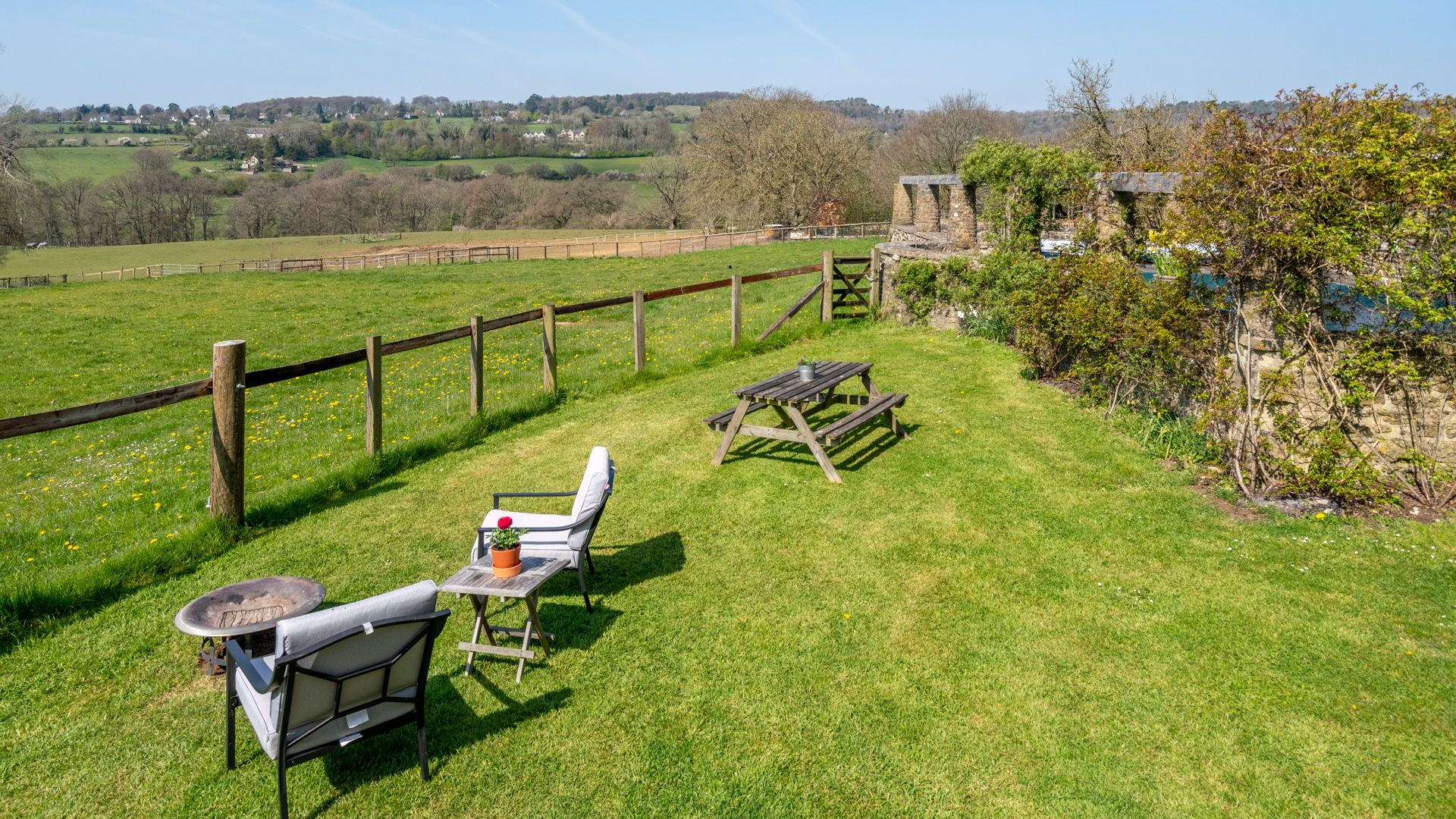 View and firepit, Under the Walnut Tree, Bolthole Retreats