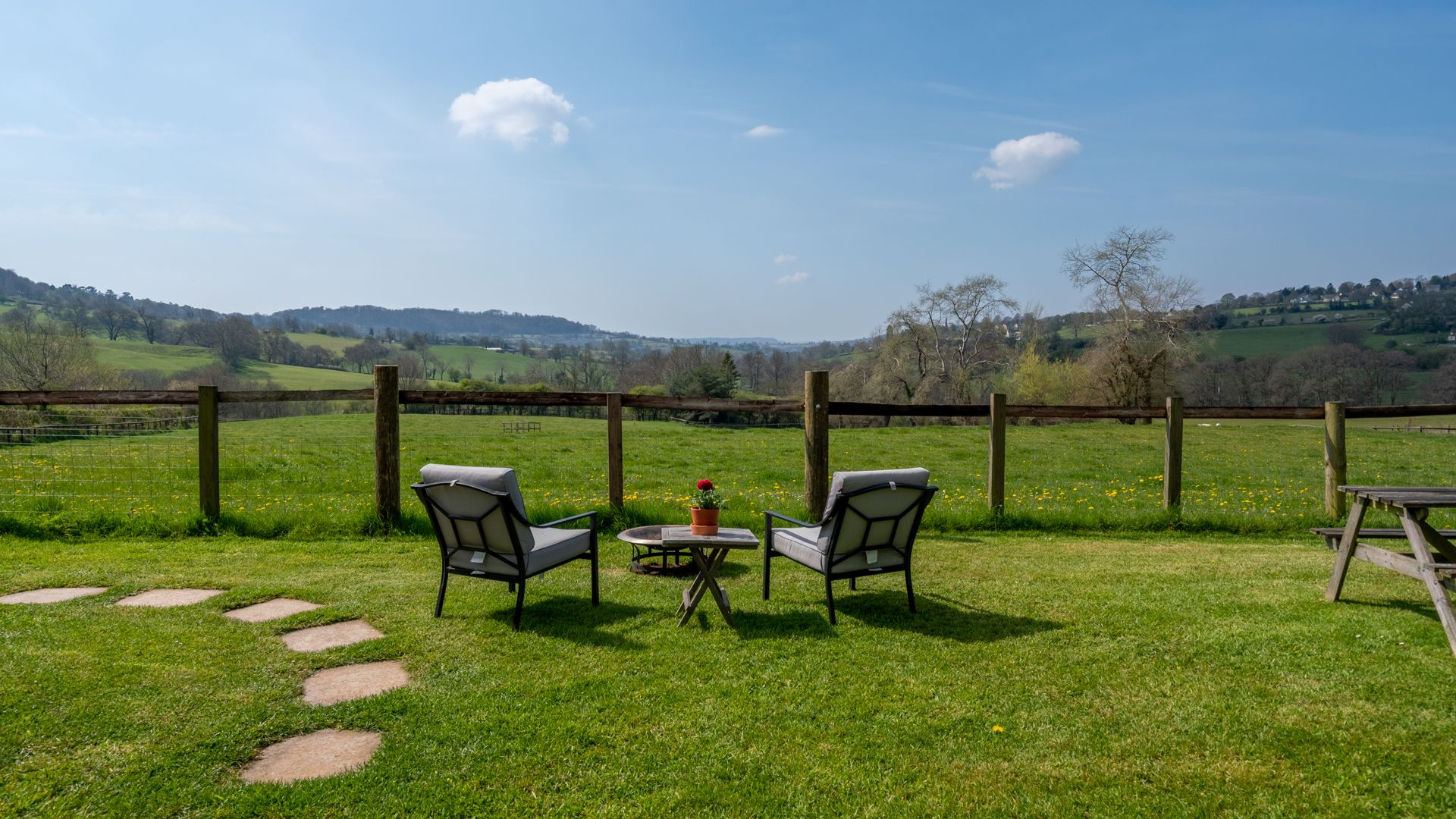 Seating and view, Under the Walnut Tree, Bolthole Retreats