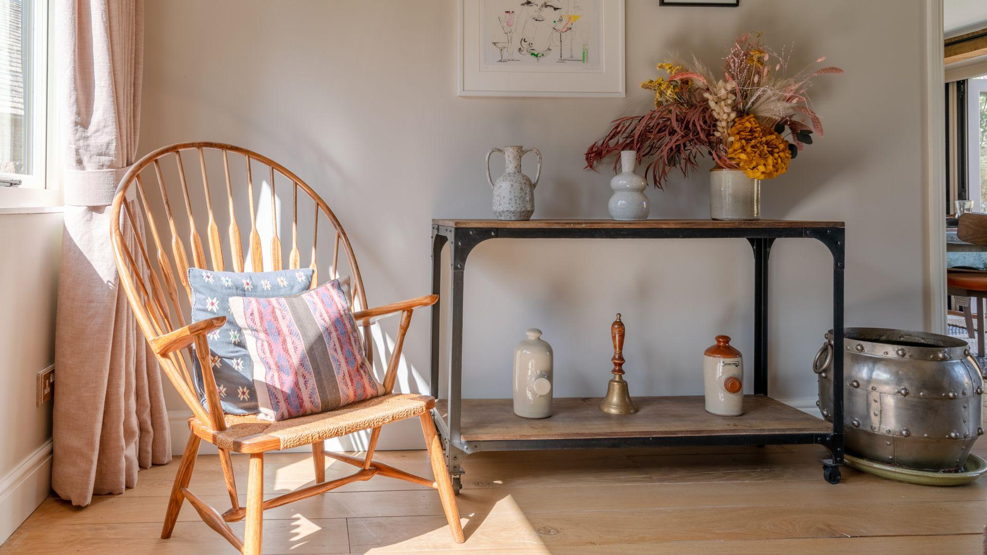 Living room with wheelback armchair, Quail House, Bolthole Retreats