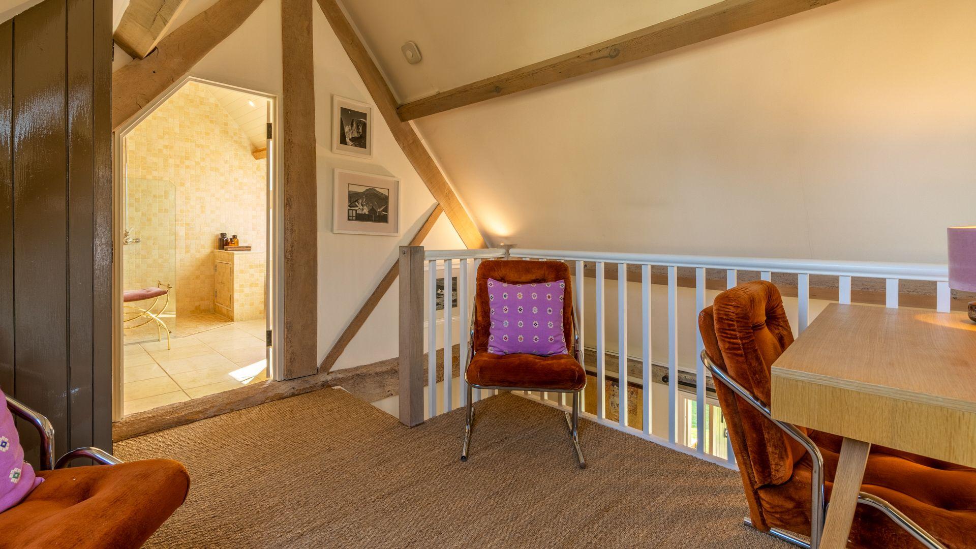 Mezzanine with desk and chairs, Quail House, Bolthole Retreats