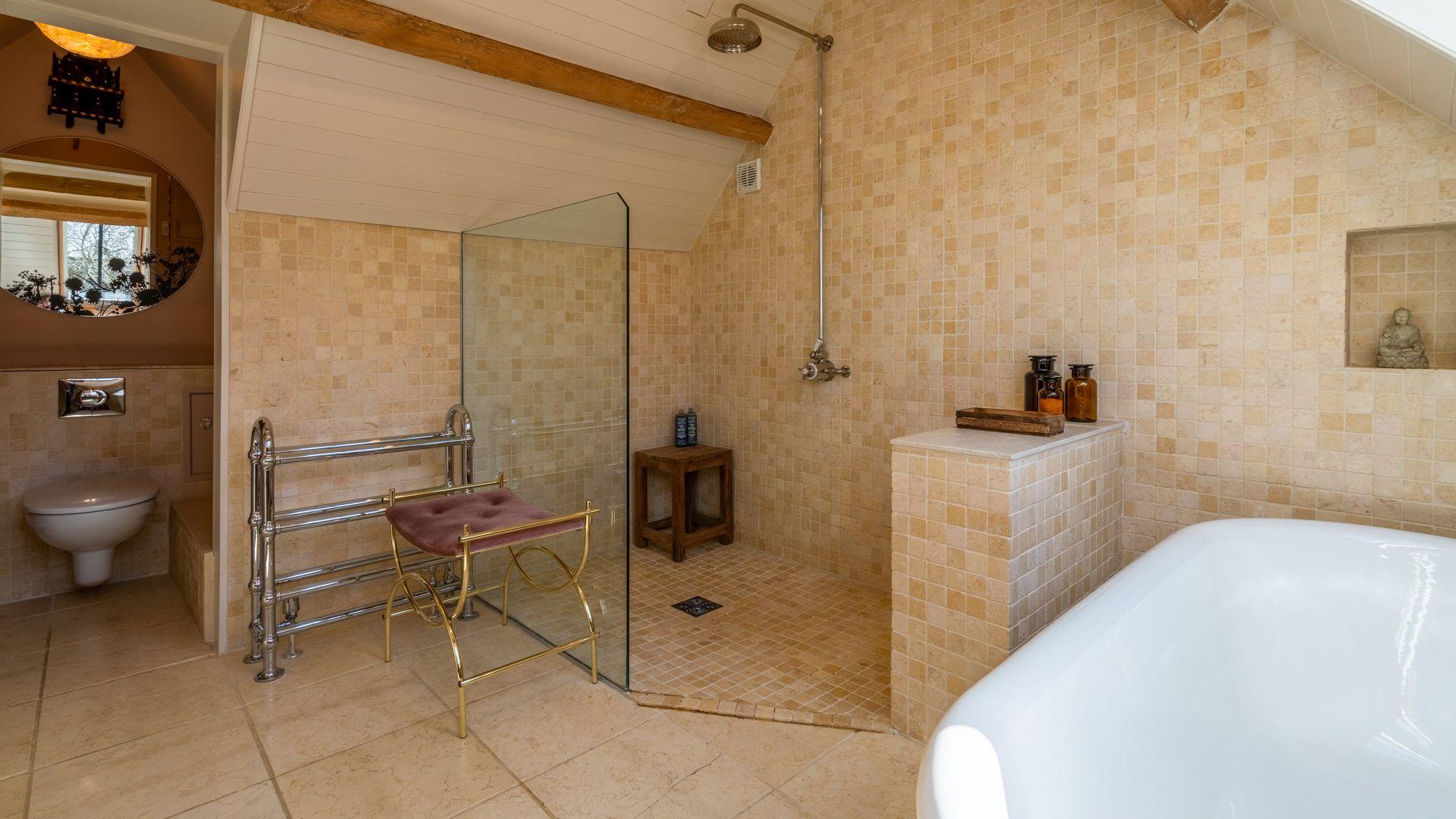 Family bathroom with walk in shower, Quail House, Bolthole Retreats