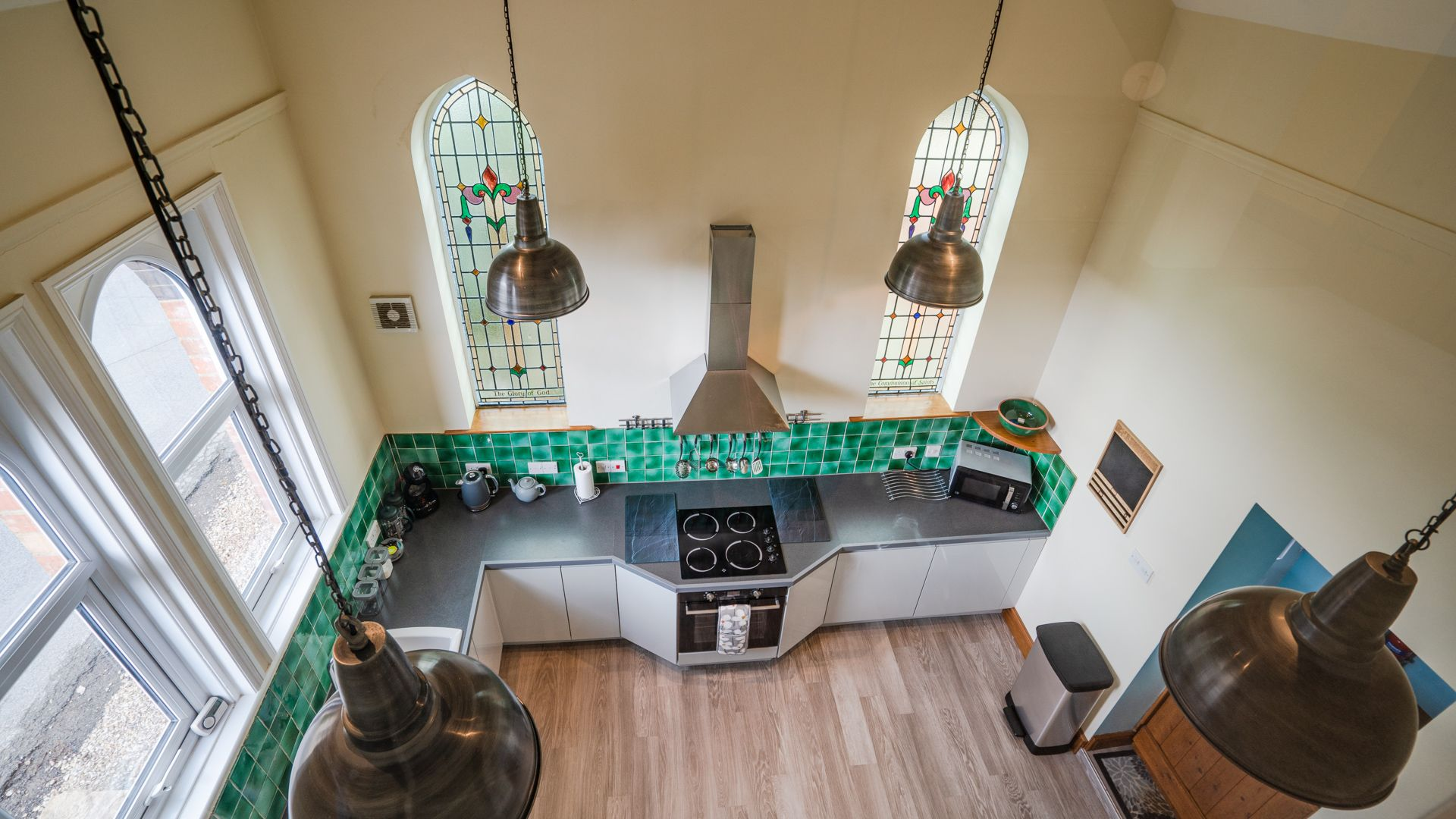 Kitchen from master bedroom, Old Chapel, Bolthole Retreats