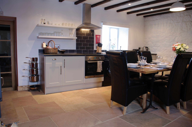 Large stylish kitchen with dining area