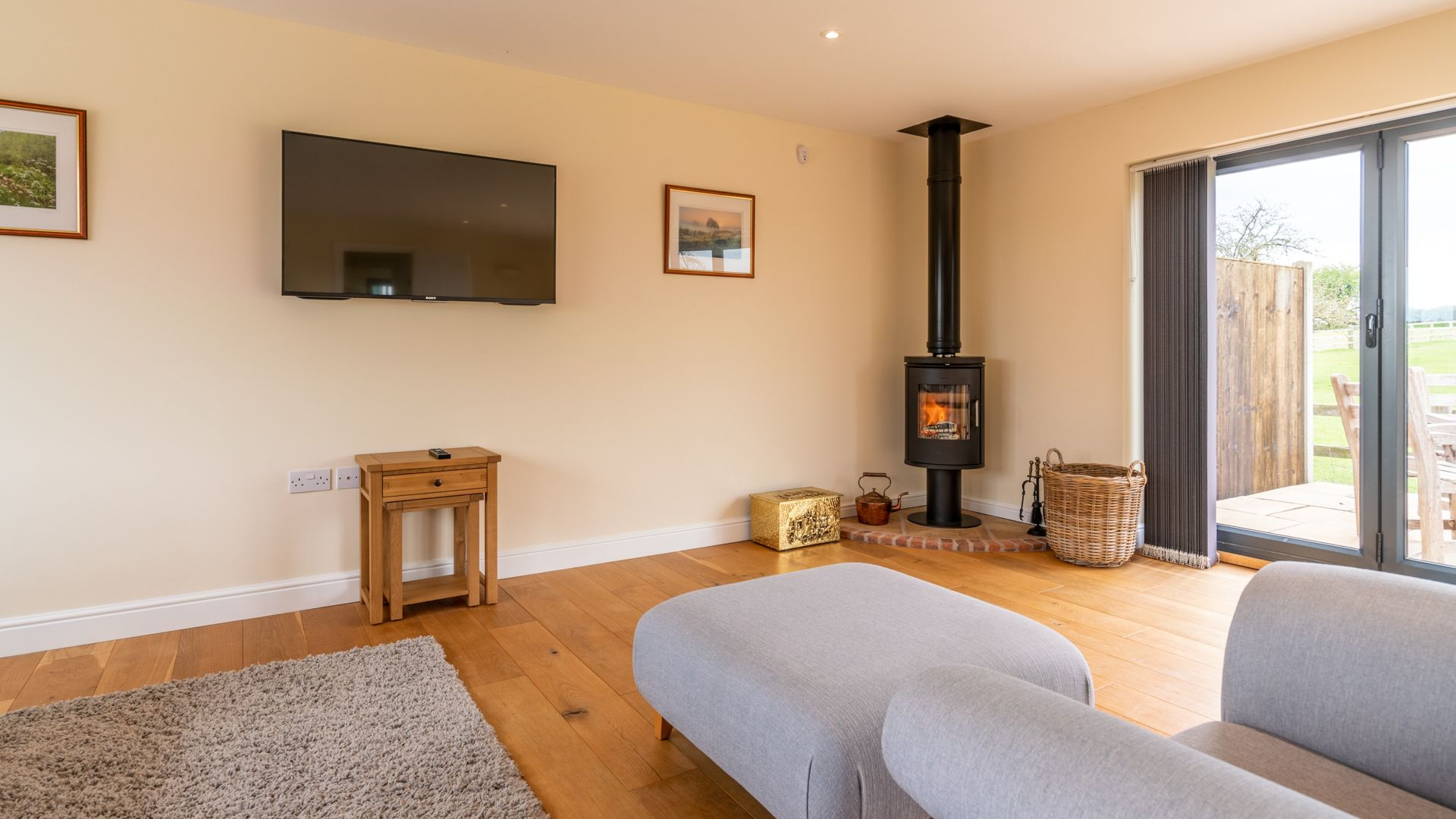 Living Room and Wood Burner, Orchard View, Bolthole Retreats