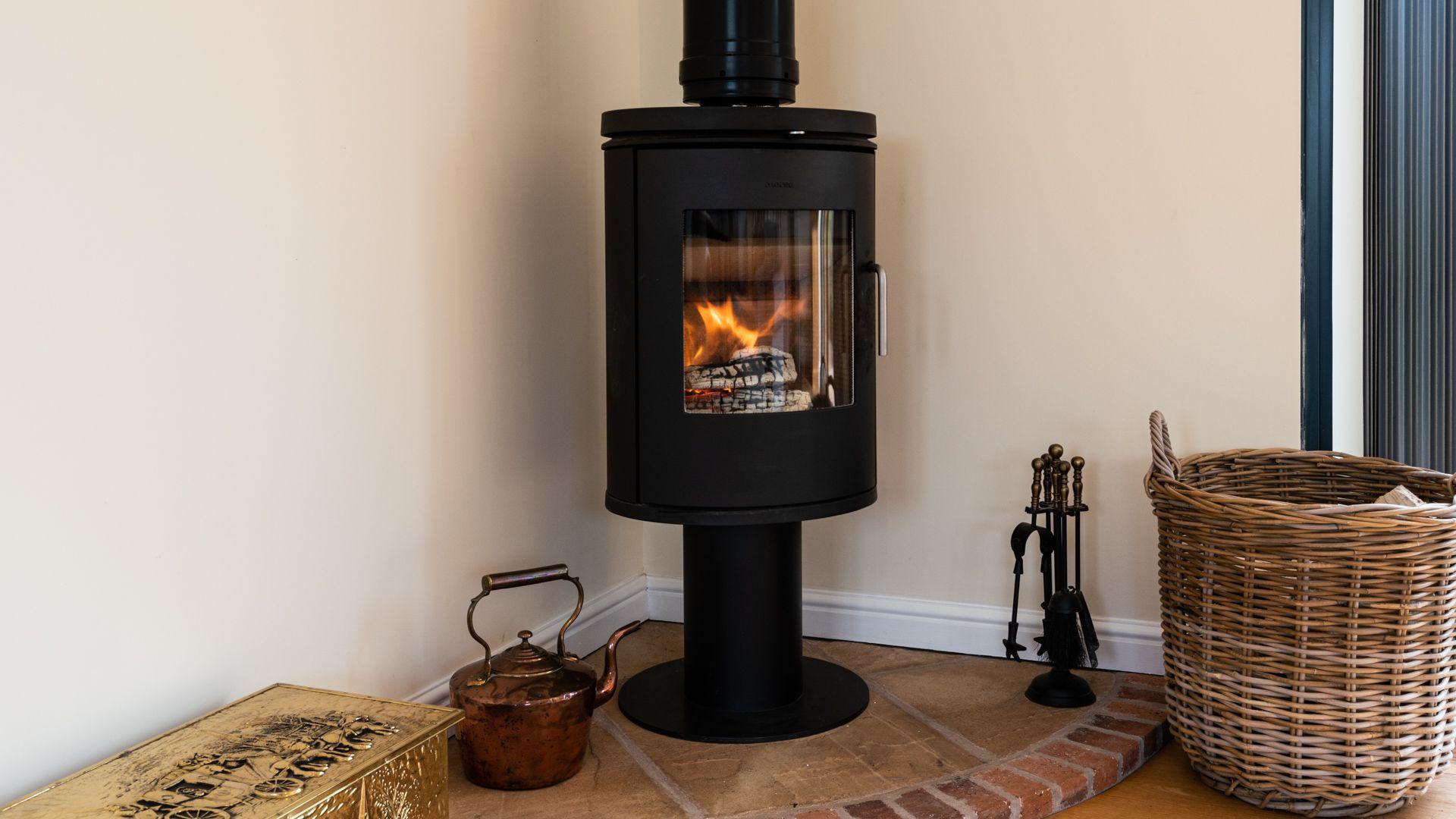 Living Room wood burner, Orchard View, Bolthole Retreats
