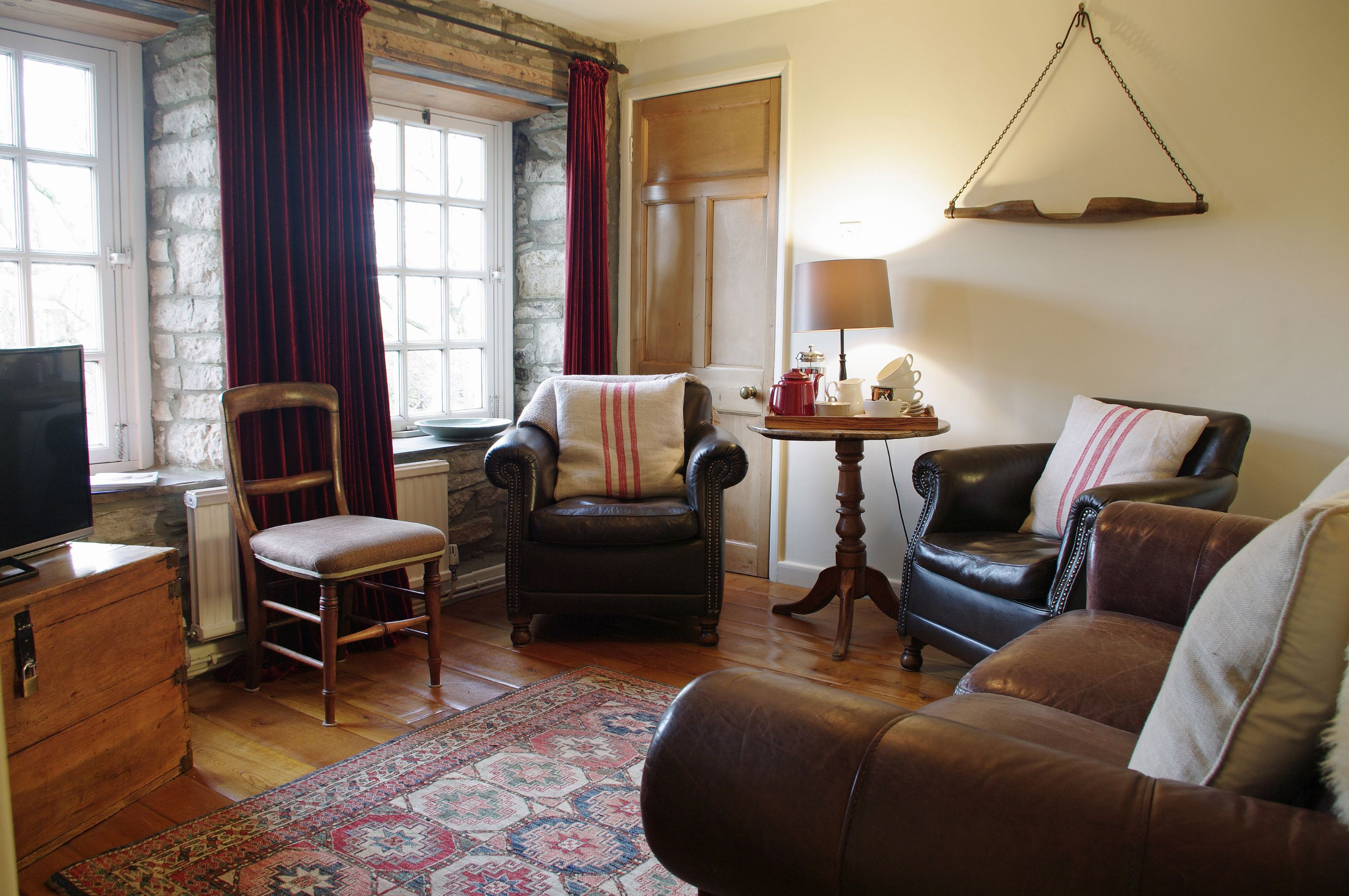 Lounge area at The Old Wheelhouse, The Mill in West Burton, Wensleydale in the Yorkshire Dales