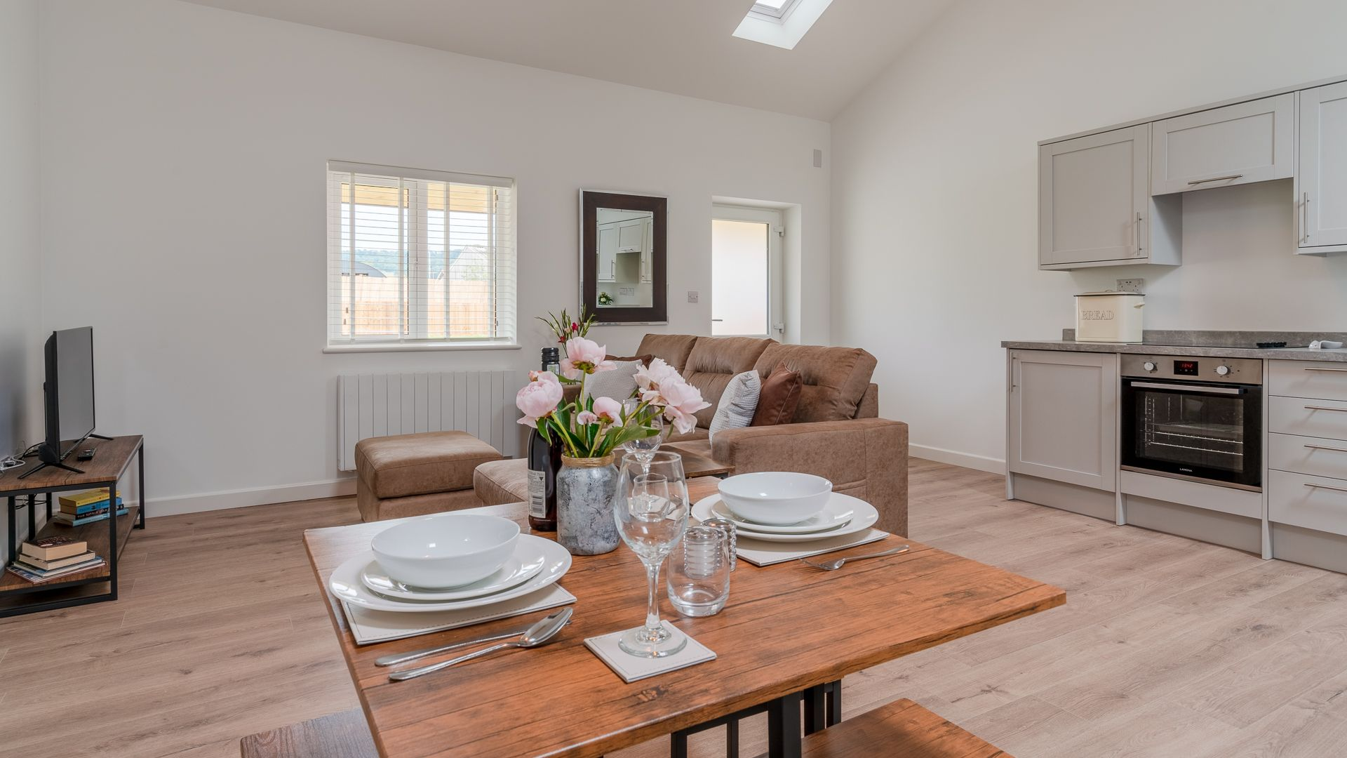 Open plan living-kitchen-dining area, Lily Barn at Laburnum Farm Estate, Bolthole Retreats