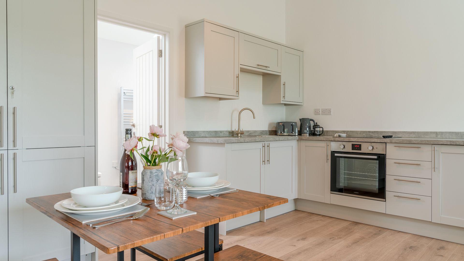 Kitchen-dining area, Rose Barn, Laburnum Farm Estate, Bolthole Retreats