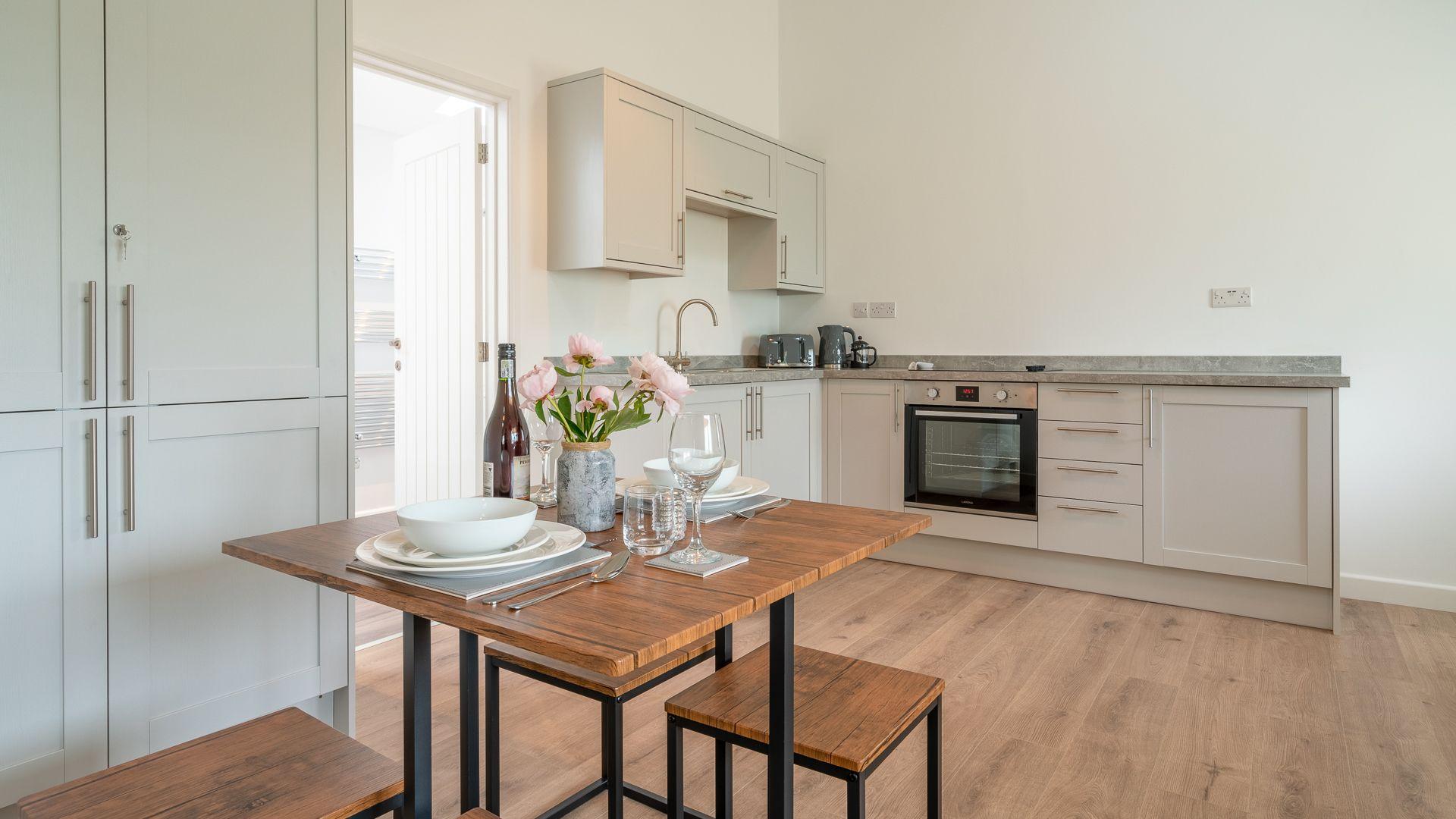 Dining-kitchen area, Rose Barn, Laburnum Farm Estate, Bolthole Retreats