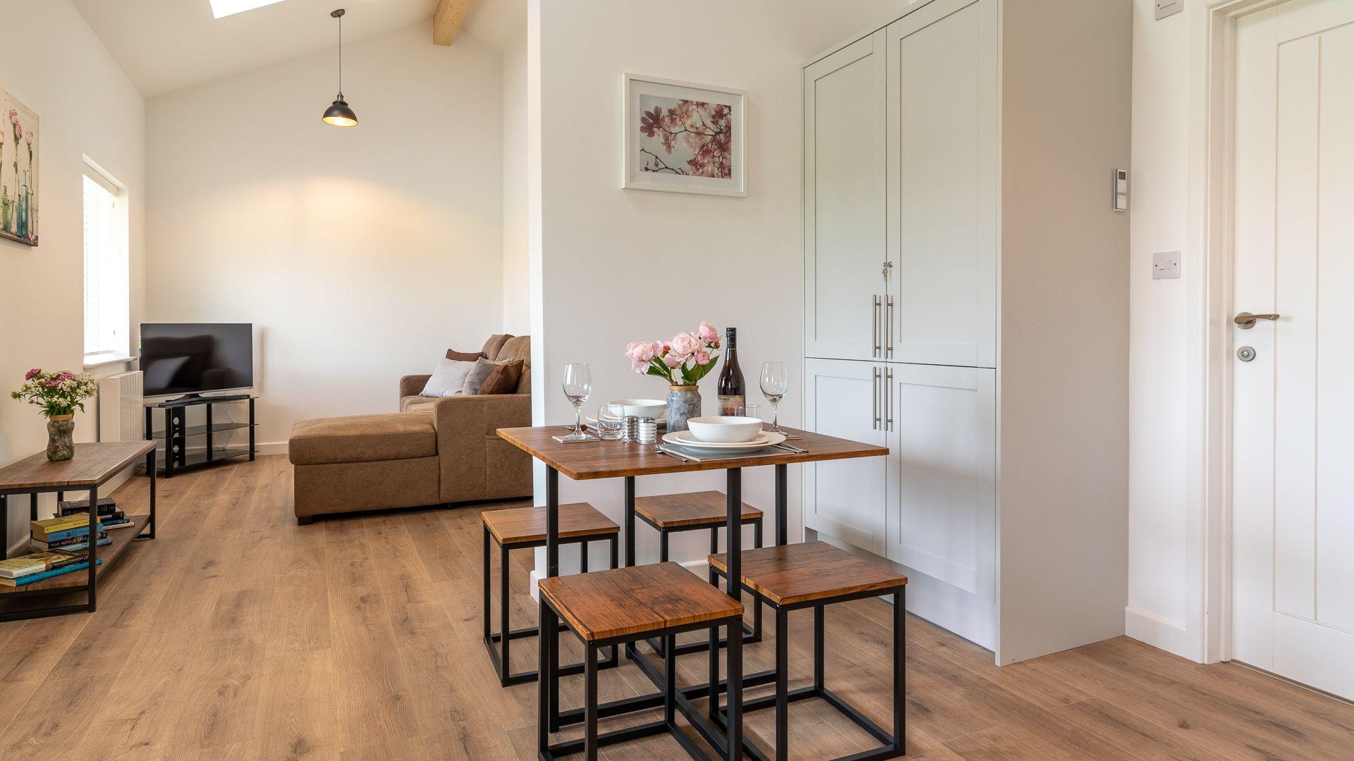 Dining-living area, Rose Barn, Laburnum  Farm Estate, Bolthole Retreats
