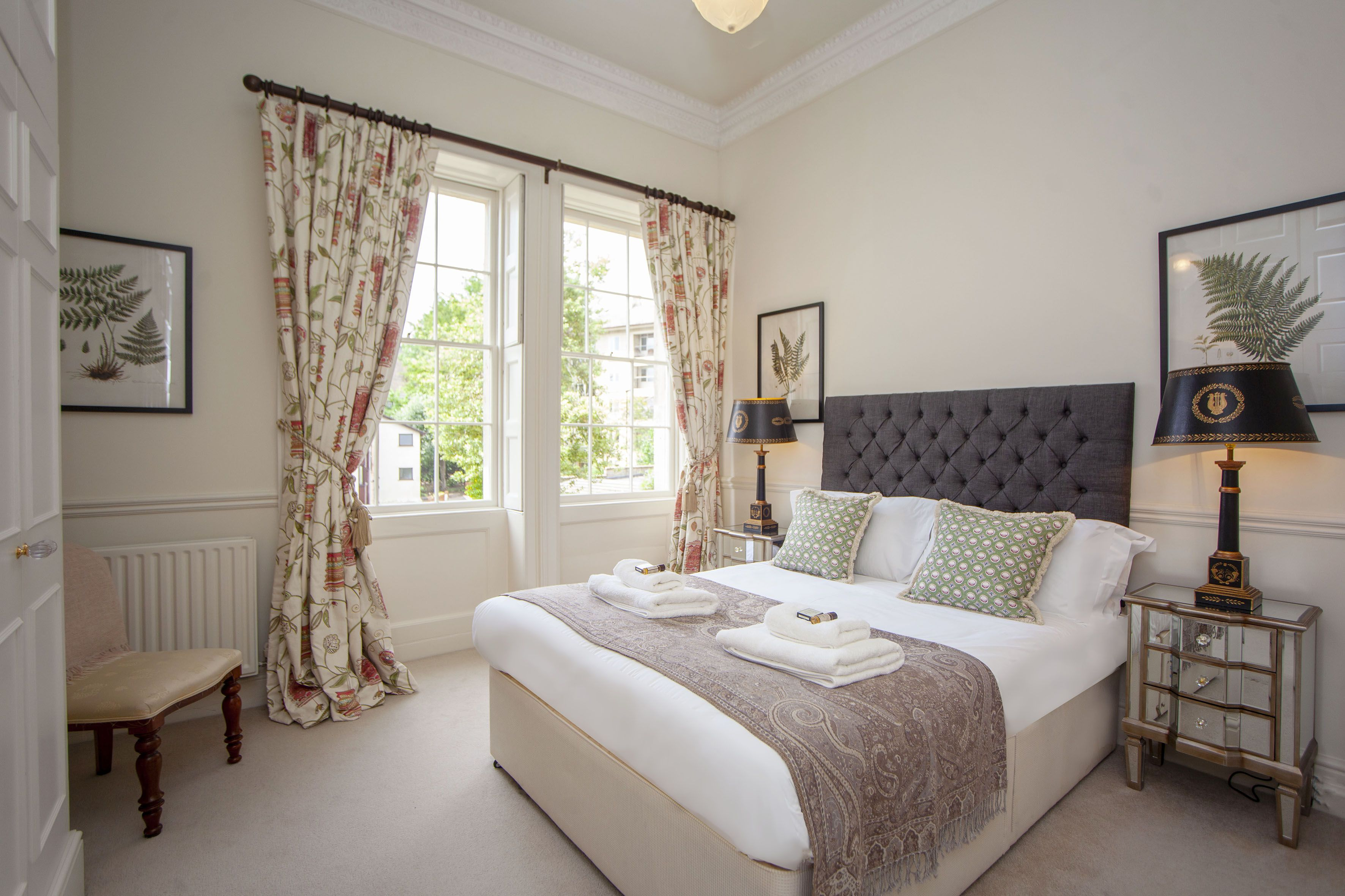 Master bedroom with fabulous Georgian high ceilings