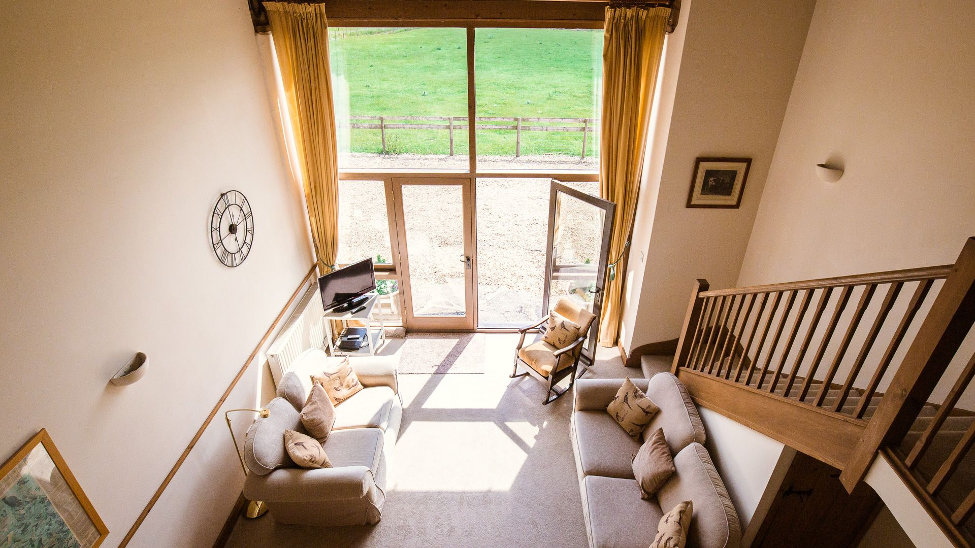 Looking down at open plan living-dining, The Gallery, Bolthole Retreats