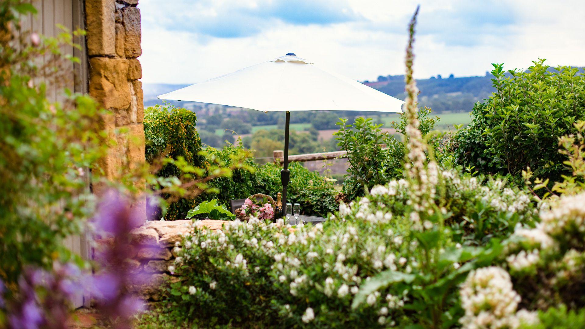 Garden and View, Lark Rise Cottage, Bolthole Retreats