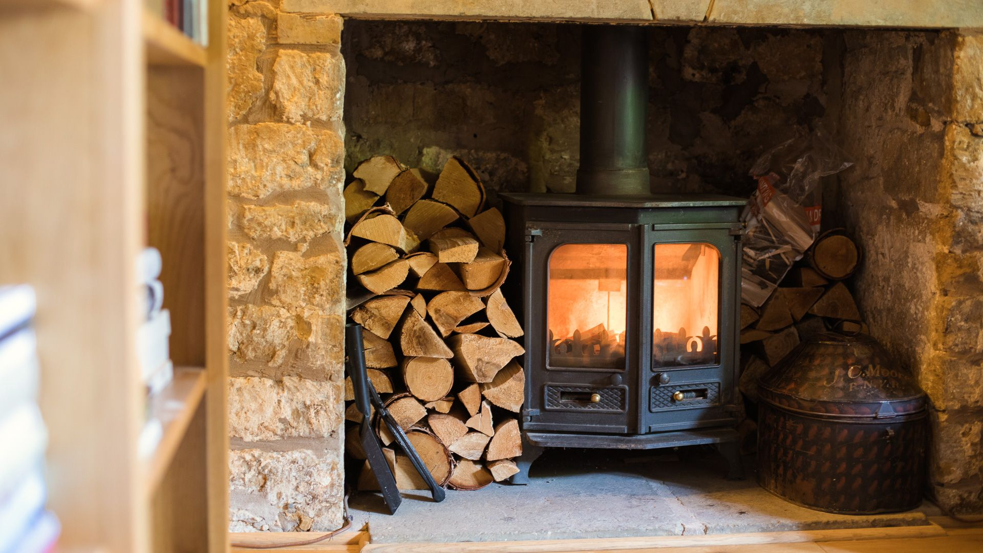 Fireplace and log burner, Lily Cottage, Bolthole Retreats