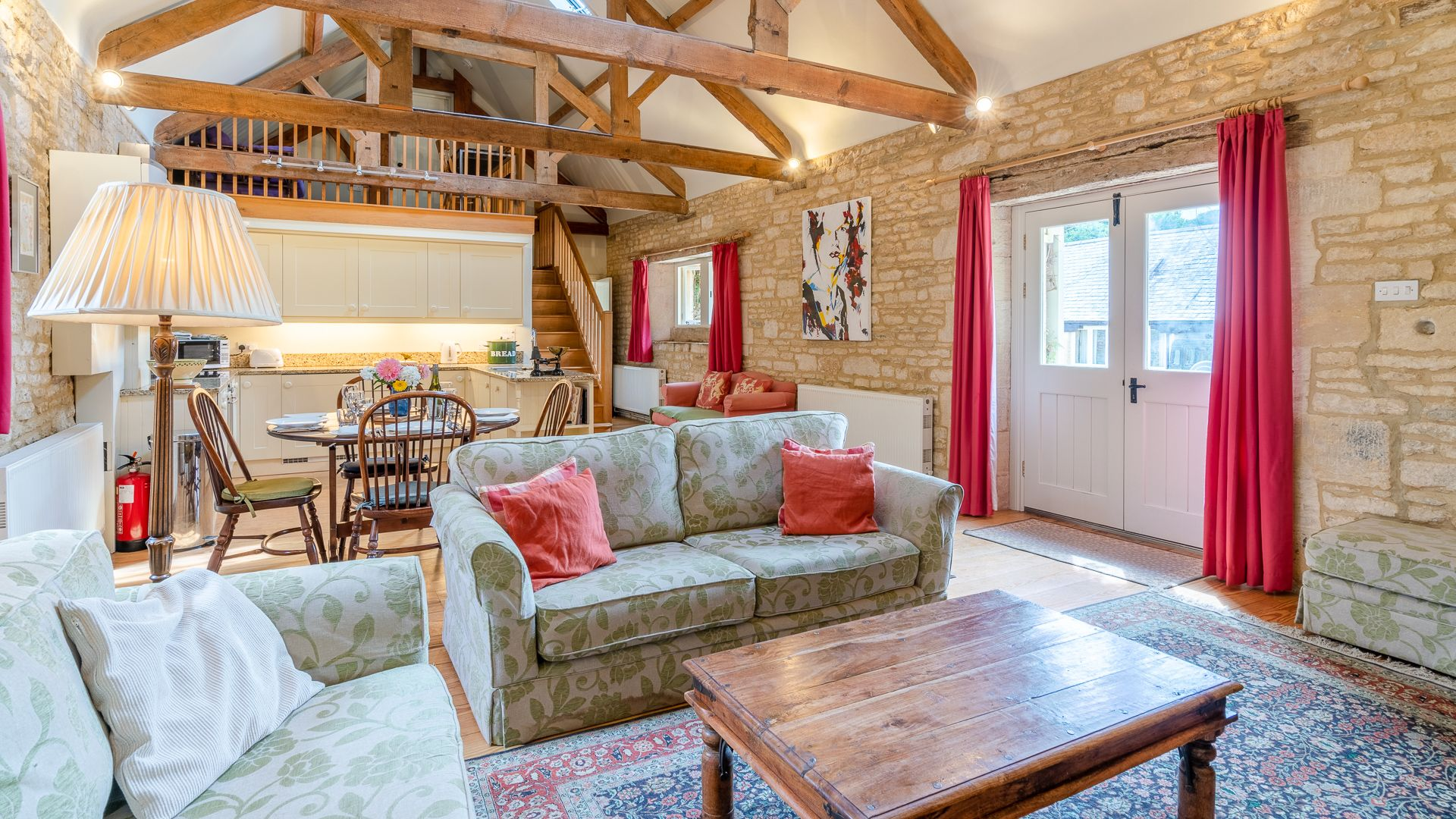 Open plan, living-dining-kitchen area, Aylworth Manor Granary, Bolthole Retreats