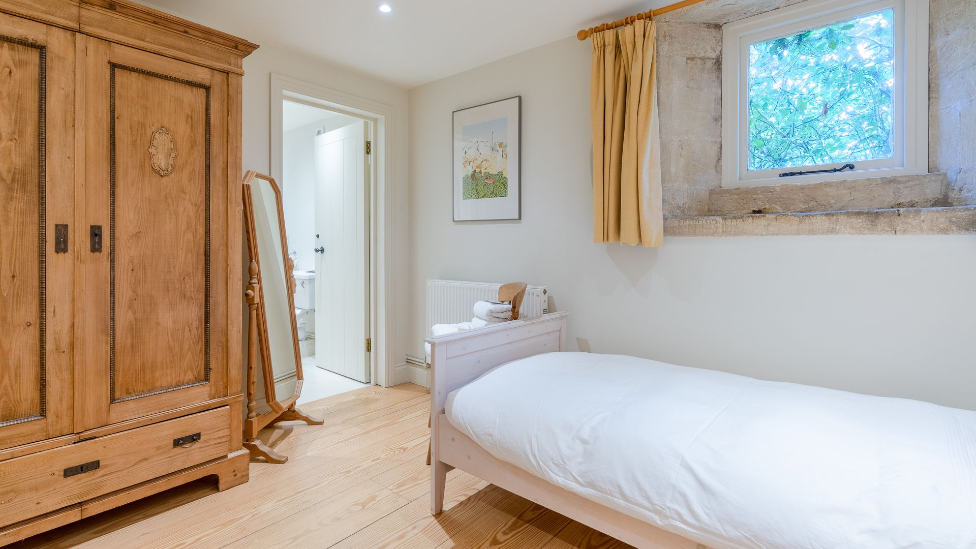 Bedroom Two and entrance to ensuite, Aylworth Manor Granary, Bolthole Retreats