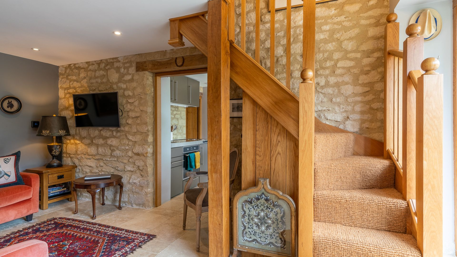Living Room and Staircase, Little Coach House, Bolthole Retreats