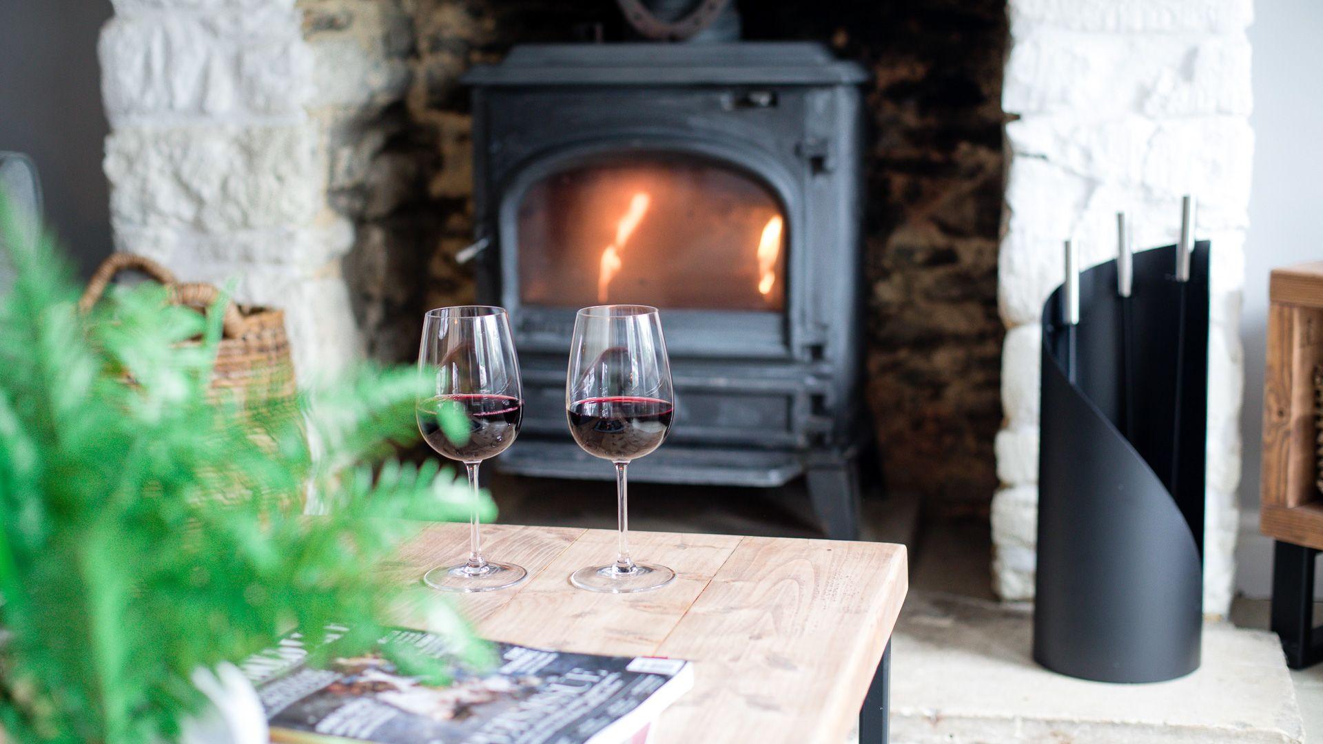 Woodburner scene, Hillside Cottage, Bolthole Retreats