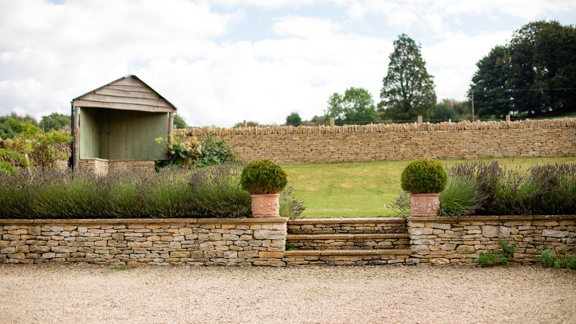 View from parking to top garden terrace, Tom's Barn,  Bolthole Retreats