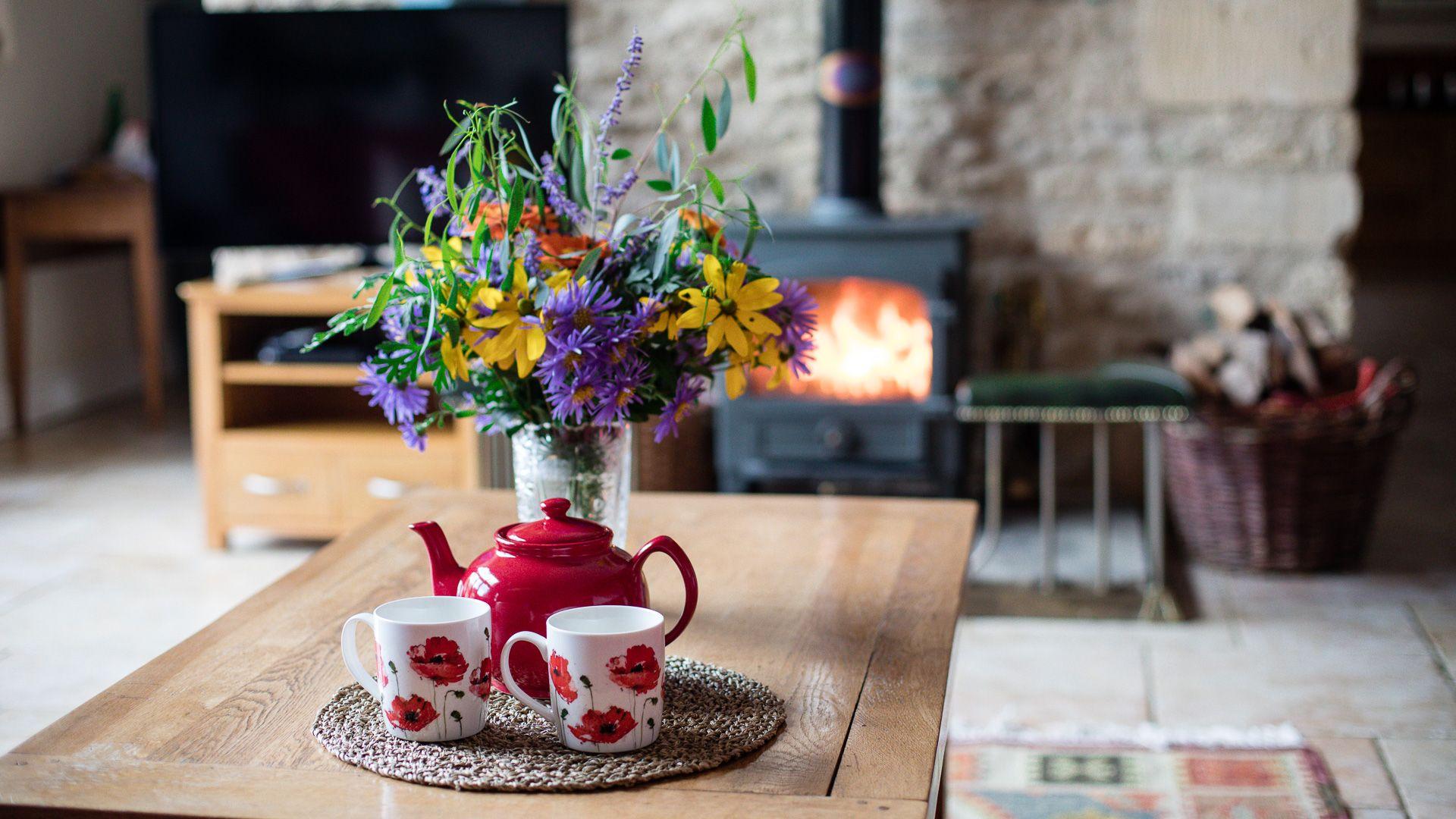 Living room and wood burning stove, Tom's Barn,  Bolthole Retreats