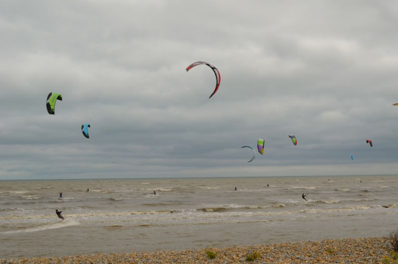 Kitesurfers at Greatstone beach