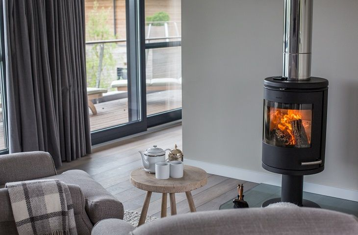 Wood burning stove in the master bedroom