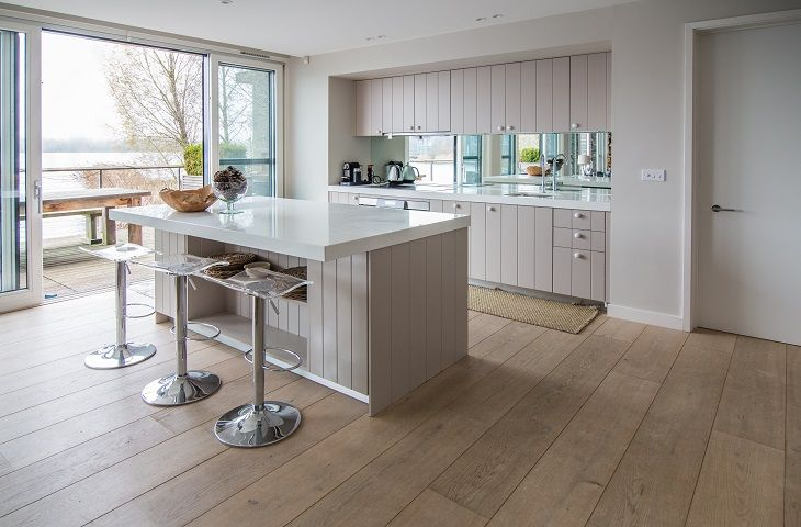 Ground floor kitchen with uninterupted views of Bowmoor Lake