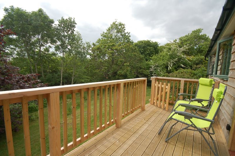 The decking with garden views