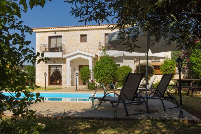Lysos Profitis Elias Villa Villa and Pool from Garden