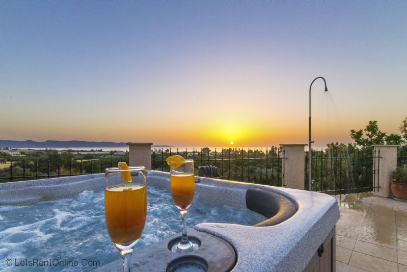 Argaka Villa Leni Hot Tub at Sunset