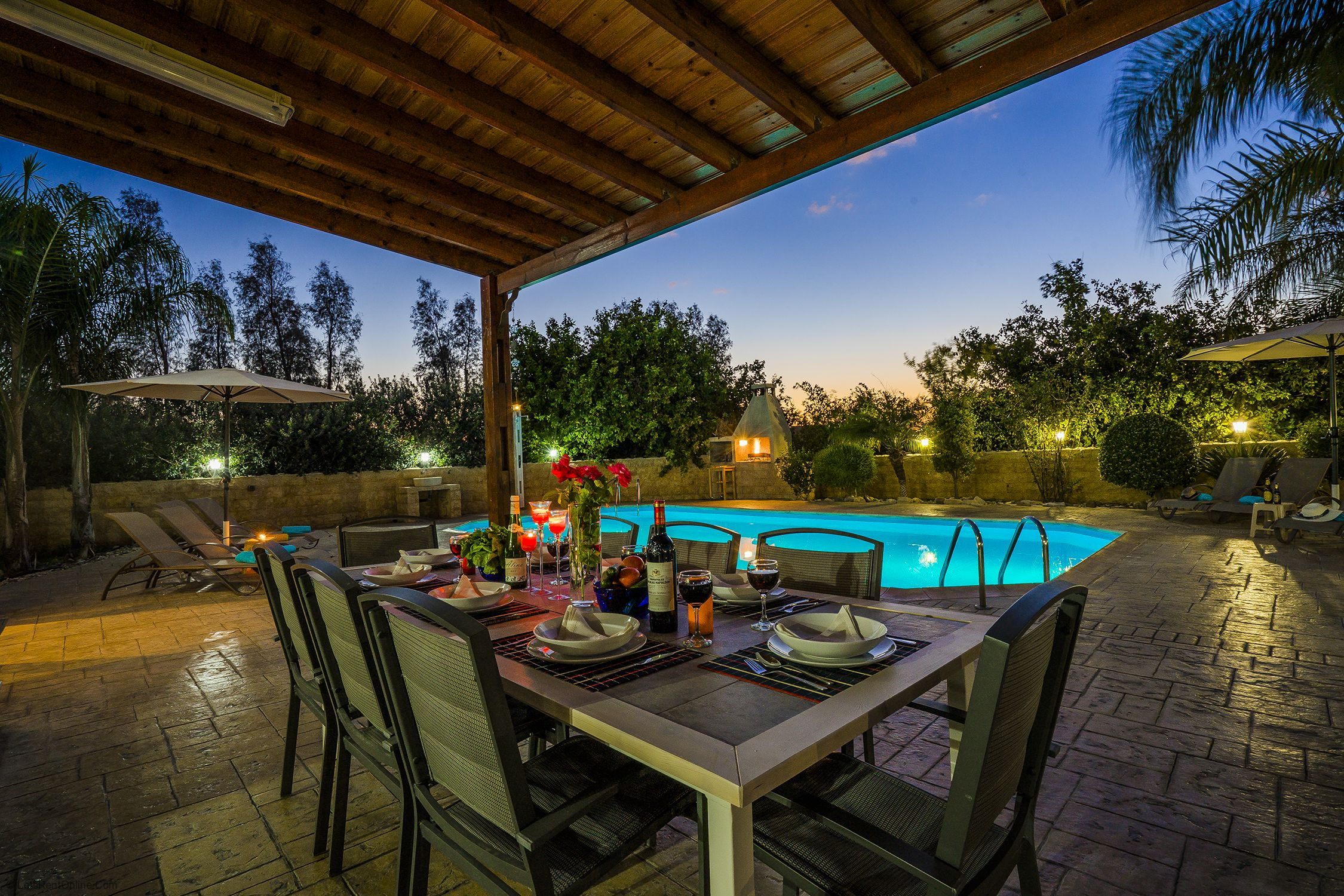 Argaka Villa Astro Dine Alfresco at Night