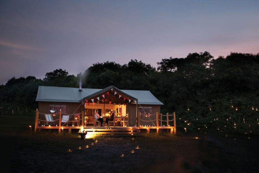 View of the property at night