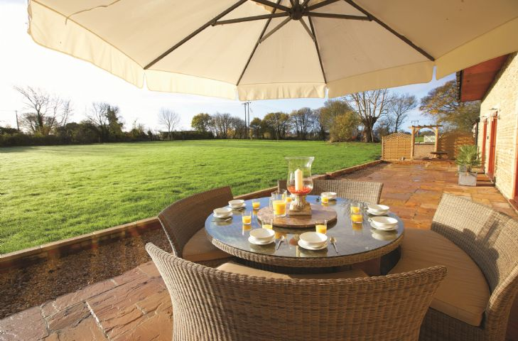 Outdoor terrace with garden furniture