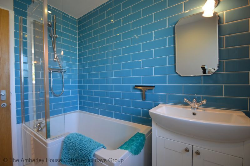 Large Image - Family bathroom with bath & overhead shower